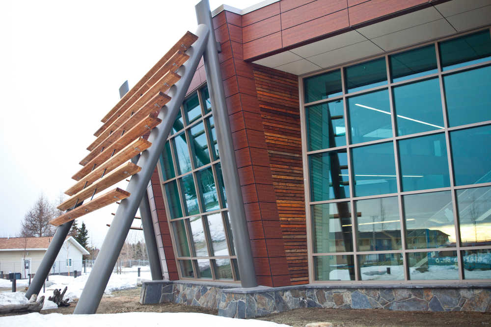 Photo by Rashah McChesney/Peninsula Clarion  The Dena'ina Wellness Center in Old Town Kenai is in its final stages of construction Jan. 30, 2014 in Kenai, Alaska.  Several architectural additions to the building are reminiscint of Alaska Native staples including this one meant to look like a fish rack.