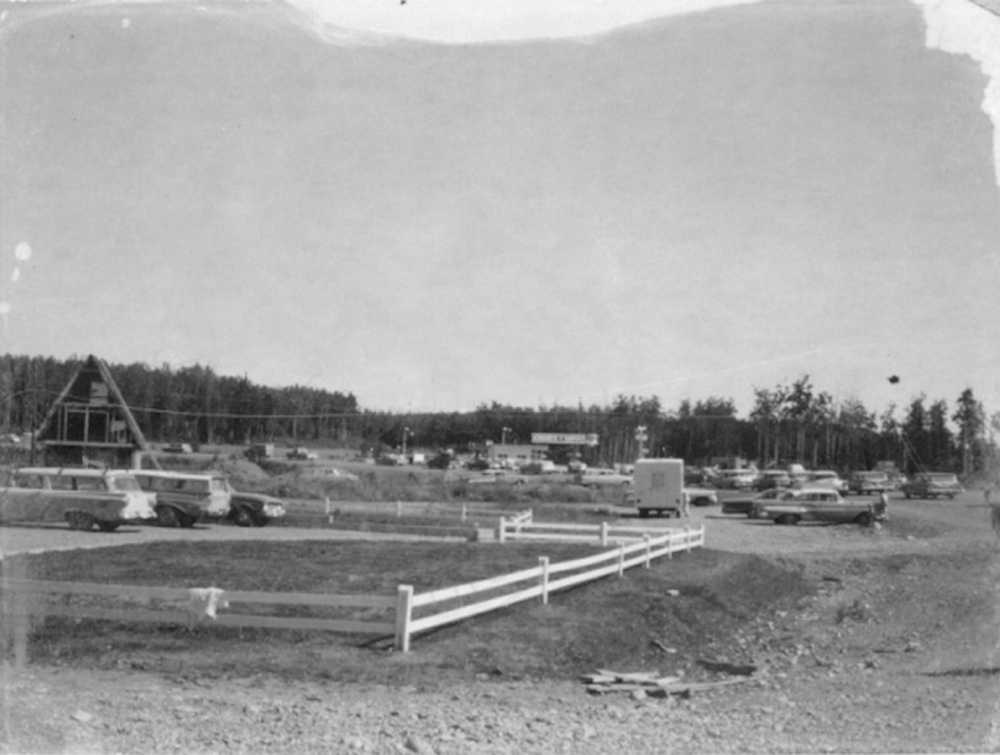Contributed photo KPC Photo Archive This Cheechako News photo of Soldotna shows several relatively undamaged buildings and one - an unfurnished A-frame - which was one of the few structures damaged by the 1964 earthquake.
