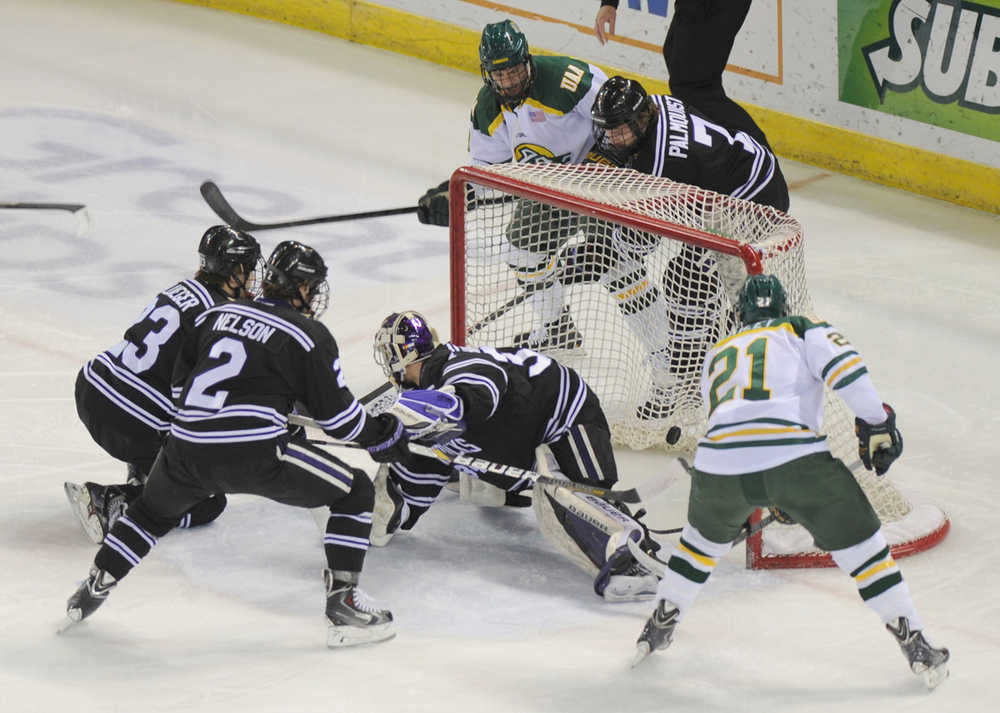 Brad Duwe of Univeristy of Alaska Anchorage, top, watches as his tapped puck lands in the net for his first goal of the year and a 1-0 lead over Minnesota State-Mankato during first-period action on Friday, Jan. 10, 2014, at Sullivan Arena in Anchorage, Alaska. (AP Photo/The Anchorage Daily News, Erik Hill)