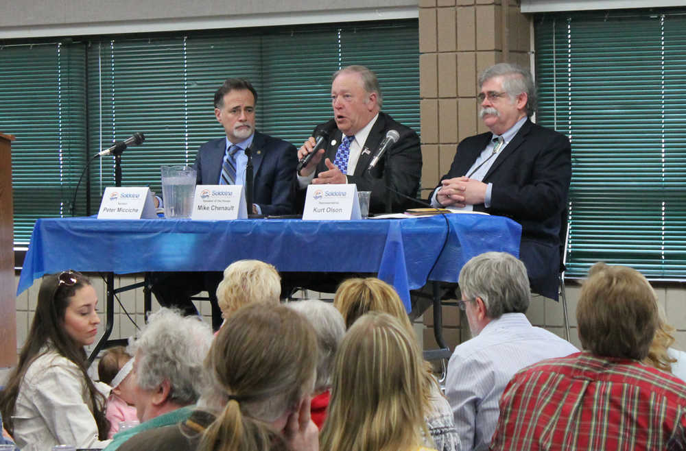 Sen. Peter Micciche, R-Soldotna, Speaker of the House Mike Chenault, R-Nikiski, and Rep. Kurt Olson, R-Soldotna, answer questions during a joint Kenai and Soldotna Chambers of Commerce luncheon Tuesday at the Soldotna Regional Sports Complex. (Photo by Will Morrow/Peninsula Clarion)