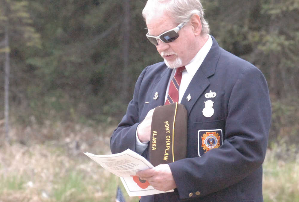 Photo by Kelly Sullivan/ Peninsula Clarion Veterans of Foreign Wars Post 10046 Chaplain Richard Williams speaks at the Soldotna Community Memorial Park in Soldotna during a Memorial Day ceremony.
