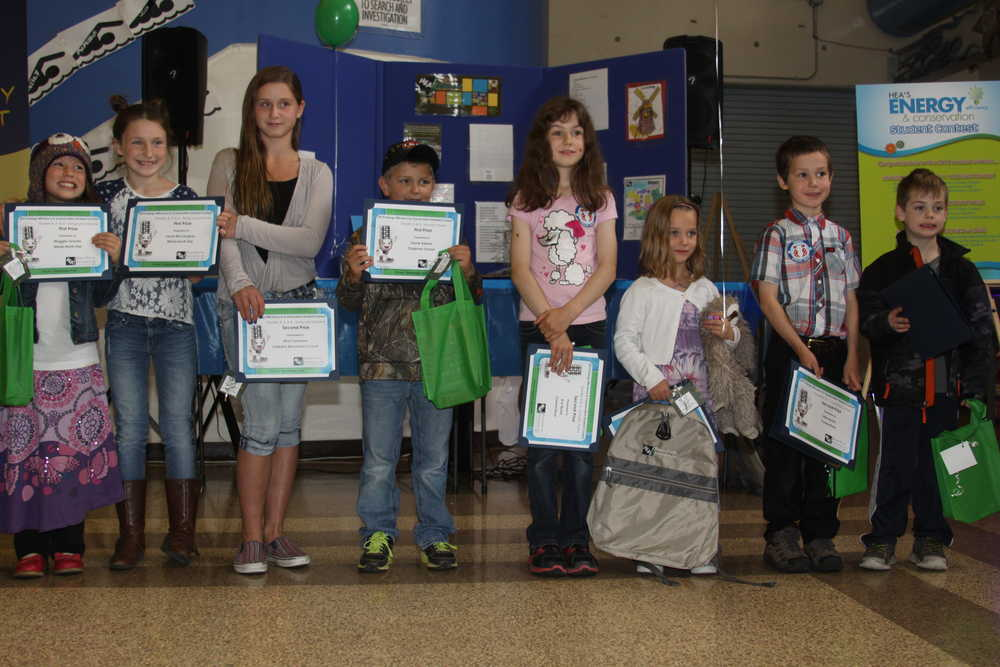 Students claim prizes in HEA's energy contest.