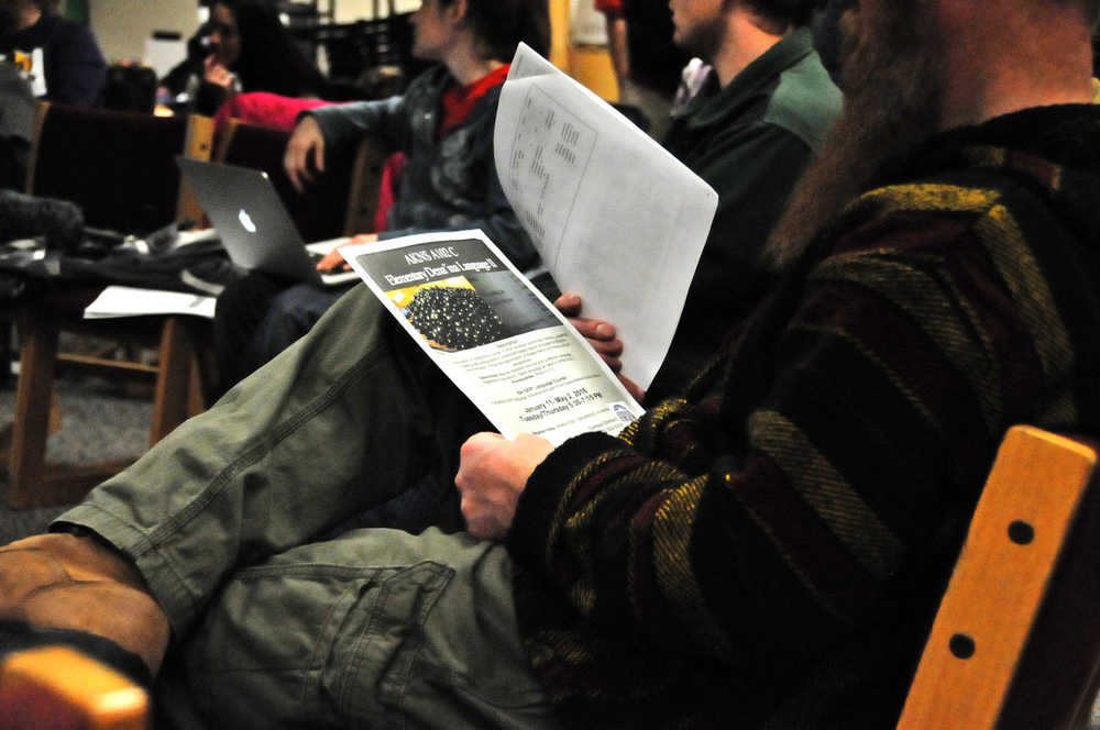 Photo by Elizabeth Earl/The Peninsula Clarion The approximately 40 people who attended the Dena'ina language forum on Thursday heard about the basics of the language and the efforts to revive it.