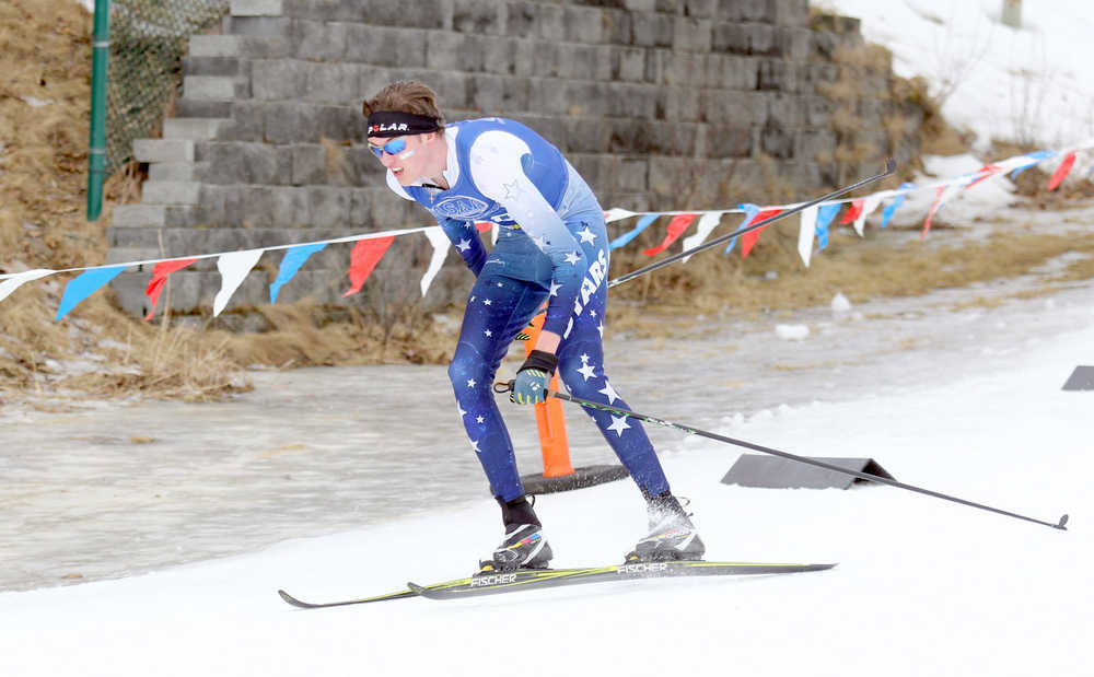 Photo by Caitlin Skvorc/Frontiersman.com Soldotna's John-Mark Pothast cruises down a hill during his 16th-place finish Friday at the State Nordic Ski Championships at Kincaid Park in Anchorage.