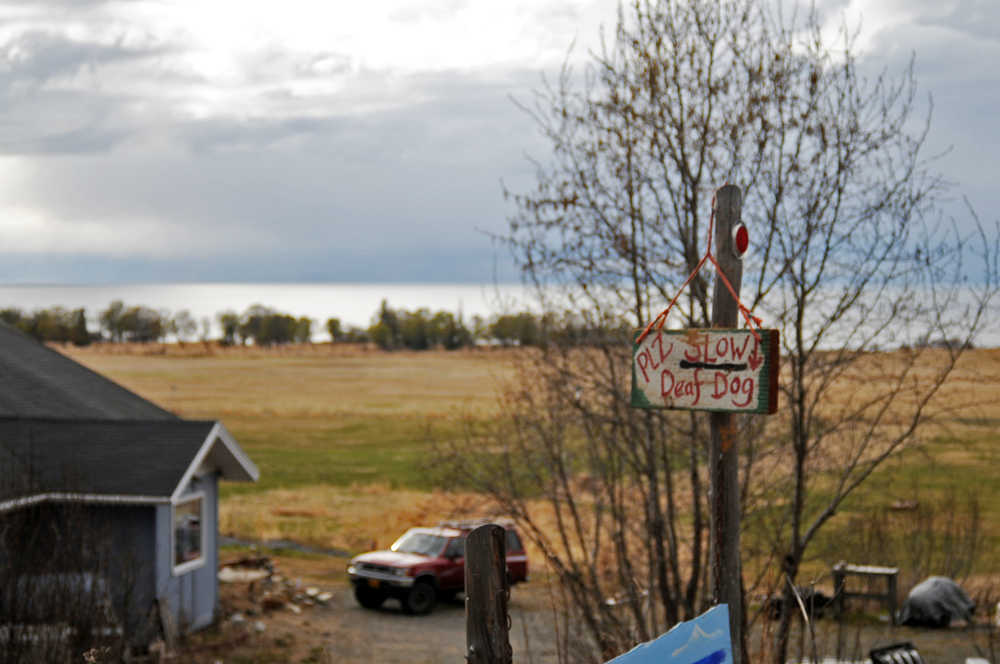 Photo by Elizabeth Earl/Peninsula Clarion A sign on Corea Bend Road near Clam Gulch, Alaska, warns drivers to watch out for a neighbor's deaf dog on Friday, April 29, 2016. Neighbors are concerned about additional traffic on their road if a proposed gravel pit is built on an adjoining property.