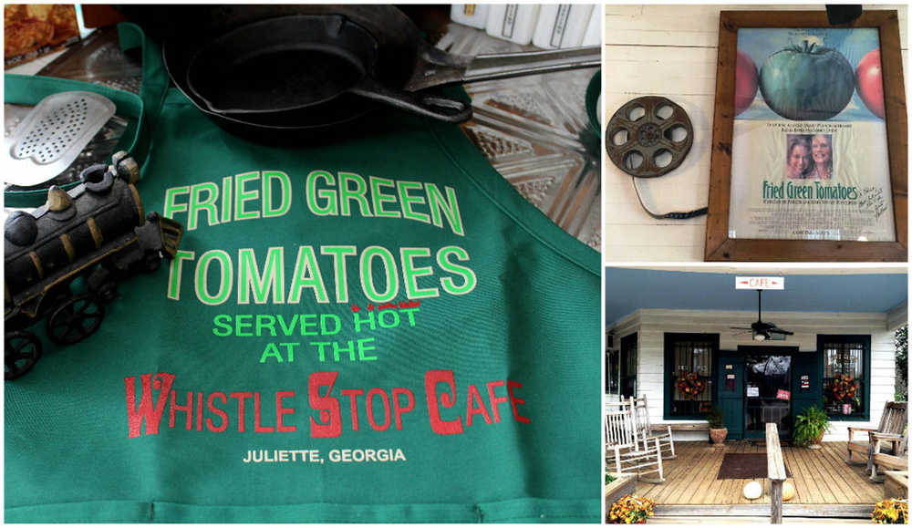 """An apron, good for wearing when making homemade fried green tomatoes, was found at the Whistle Stop Café (bottom, right) in Juliette, Ga. Juliette, the location for """"Fried Green Tomatoes,""""  was refurbished for the movie in 1991 to create the fictional town of Whistle Stop. The movie starred Kathy Bates and Jessica Tandy (pictured, upper right on movie poster), Mary Stuart Masterson and Mary-Louise Parker. Find the café at http://www.thewhistlestopcafe.com. Photo credits, right, Jim Conforti."""