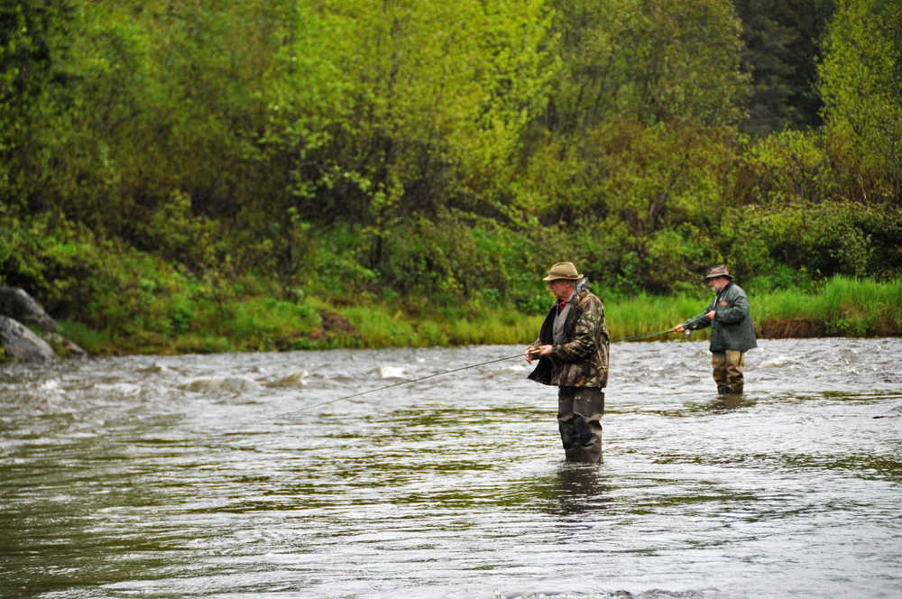 Photo by Elizabeth Earl/Peninsula Clarion Fishermen tossed their lines in the water for the first day of fishing on the Anchor River on Saturday, May 21, 2016. The Anchor River is open for king salmon fishing on May 28-30 and on Wednesdays and weekends in June.