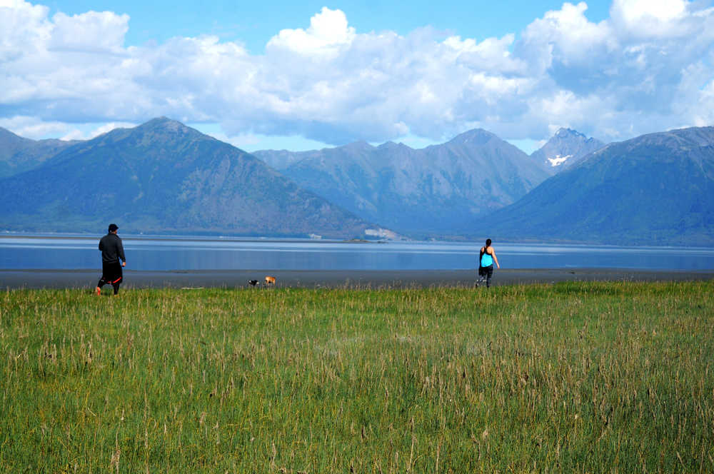 Photo by Elizabeth Earl/Peninsula Clarion Two visitors walk their dogs across the Chickaloon Flats on Sunday, Aug. 28, 2016 in Hope, Alaska. The small town on the northern edge of the Kenai Peninsula, nearly directly across the Turnagain Arm of Cook Inlet from Anchorage, attracts visitors for its historical district and its recreational opportunities, including hiking and biking trails and the chance to pan for gold in nearby Resurrection Creek.