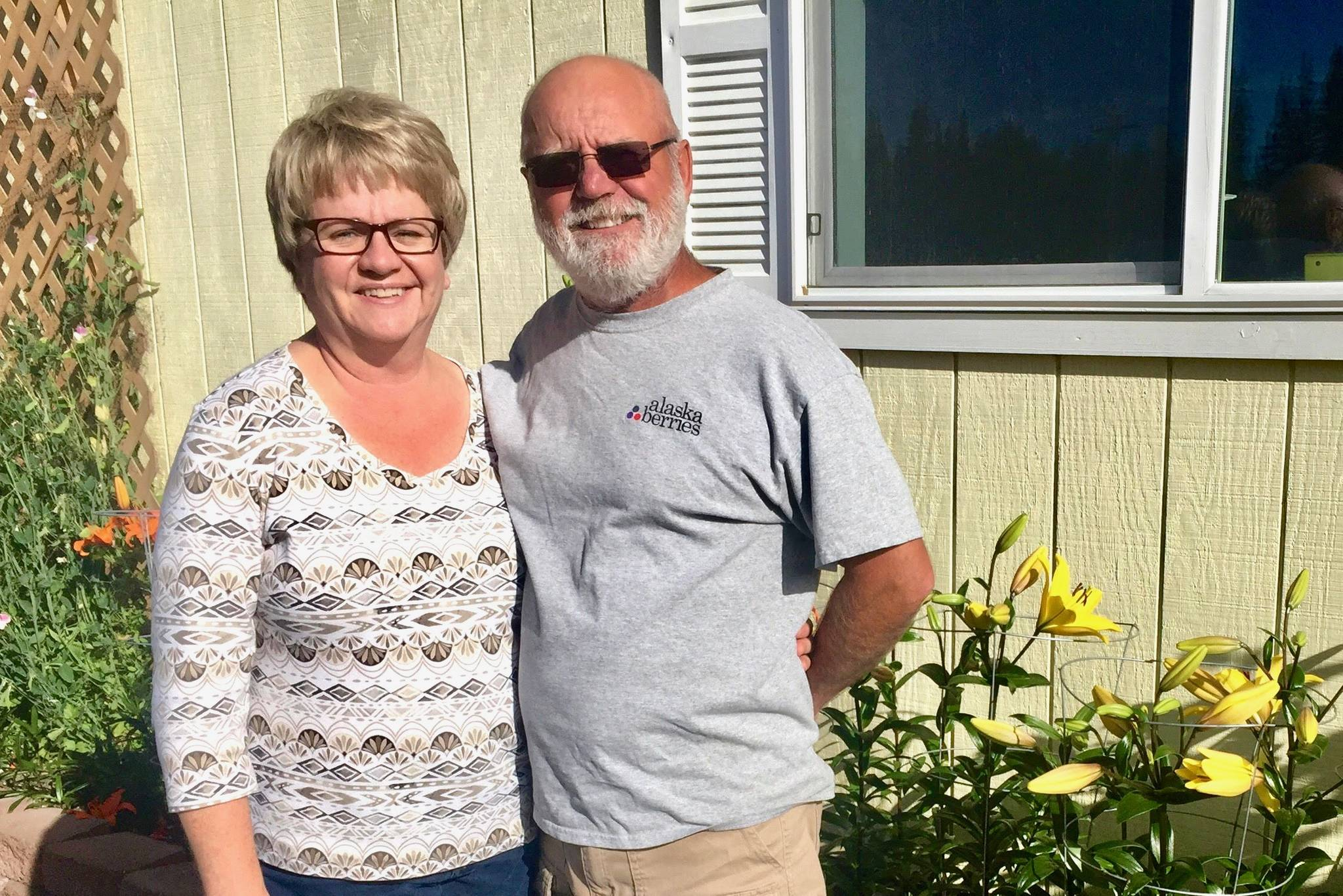 Laurie and Brian Olson at their farm on Wednesday, Aug. 15, 2018, near Soldotna, Alaska. The couple was recently named Farm Family of the Year by the Alaska State Fair. (Photo by Victoria Petersen/Peninsula Clarion)