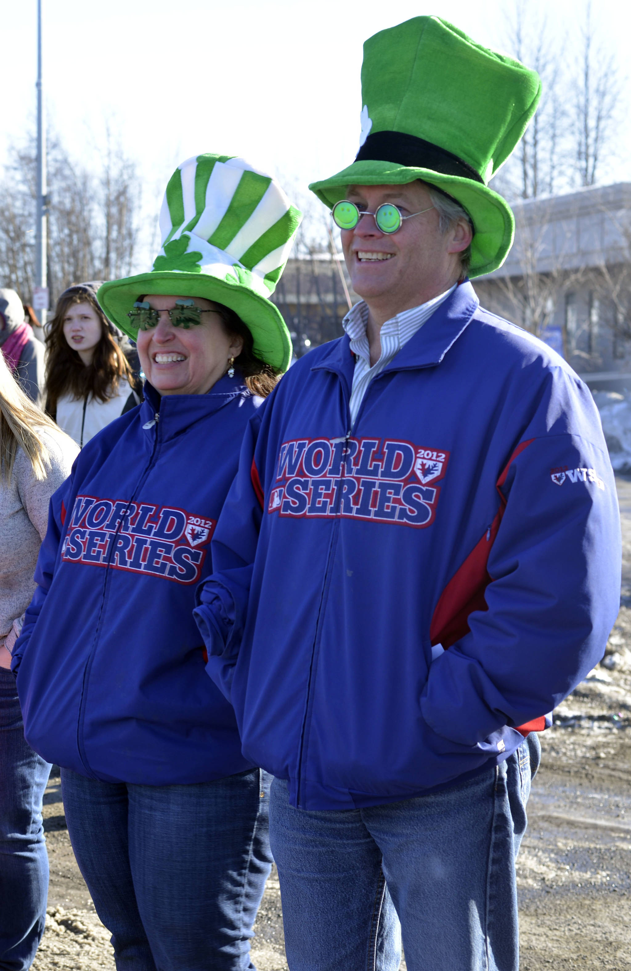 John and Nan Clonan wore their most Irish hats to watch the Soldotna St. Paddy's Day Parade on Friday, March 17, 2017 in Soldotna, Alaska. (Kat Sorensen/Peninsula Clarion)