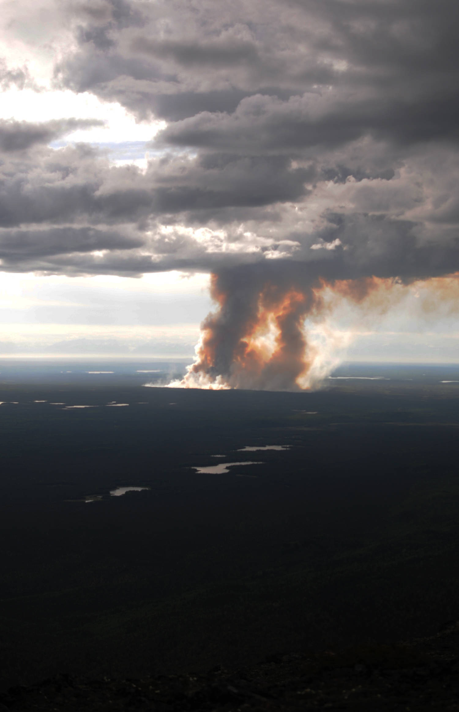 Smoke rises from the burn area of the East Fork Fire on the Kenai National Wildlife Refuge on Friday, June 16, 2017 near Sterling, Alaska. The fire, sparked by dry lightning, had burned about 850 acres by Friday night. (Photo by Elizabeth Earl/Peninsula Clarion)