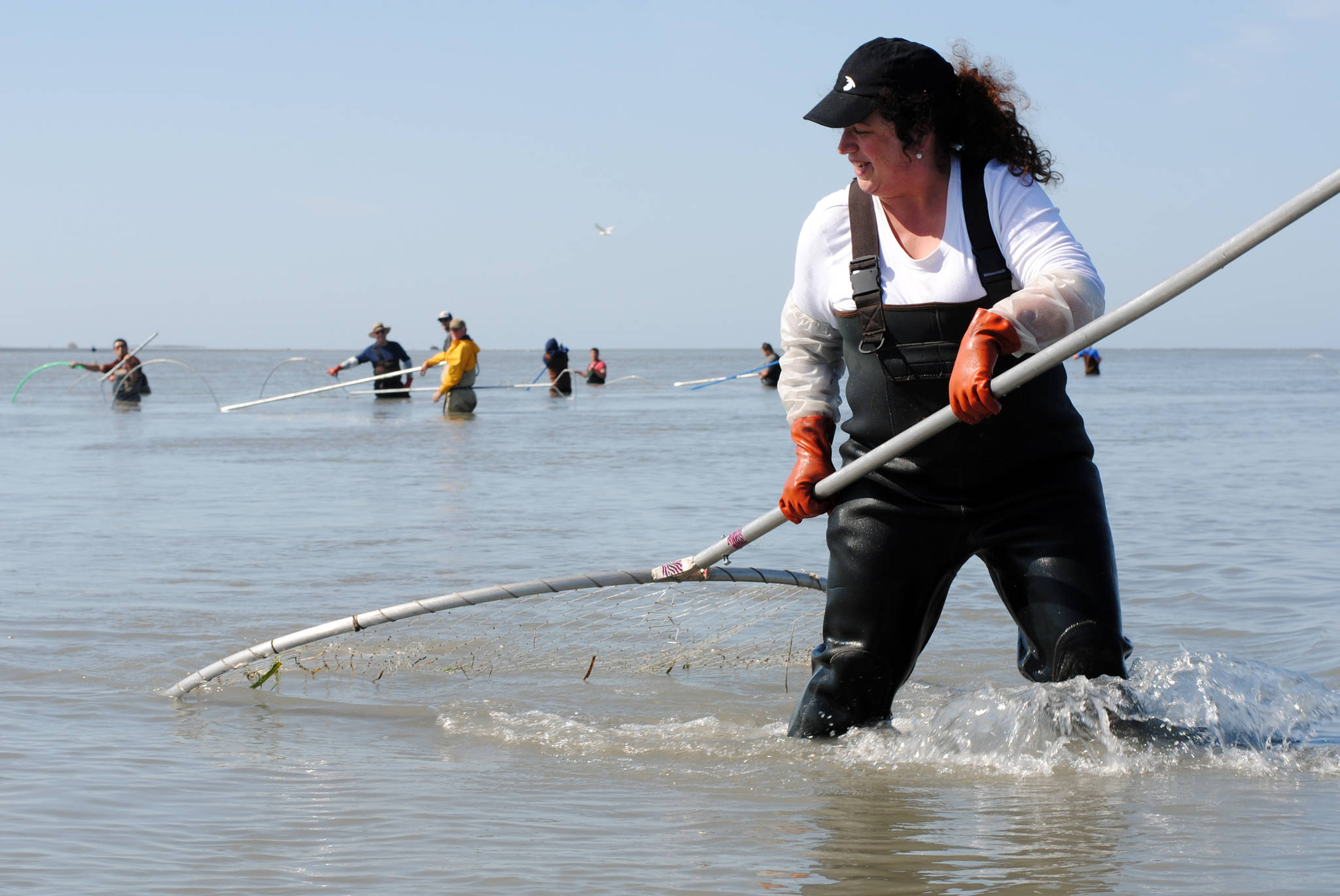 Annie Cromwell of Anchorage brings in a sockeye salmon Sunday, June 23, while dipnetting on the north beach in Kenai, Alaska. (Photo by Kat Sorensen/Peninsula Clarion)