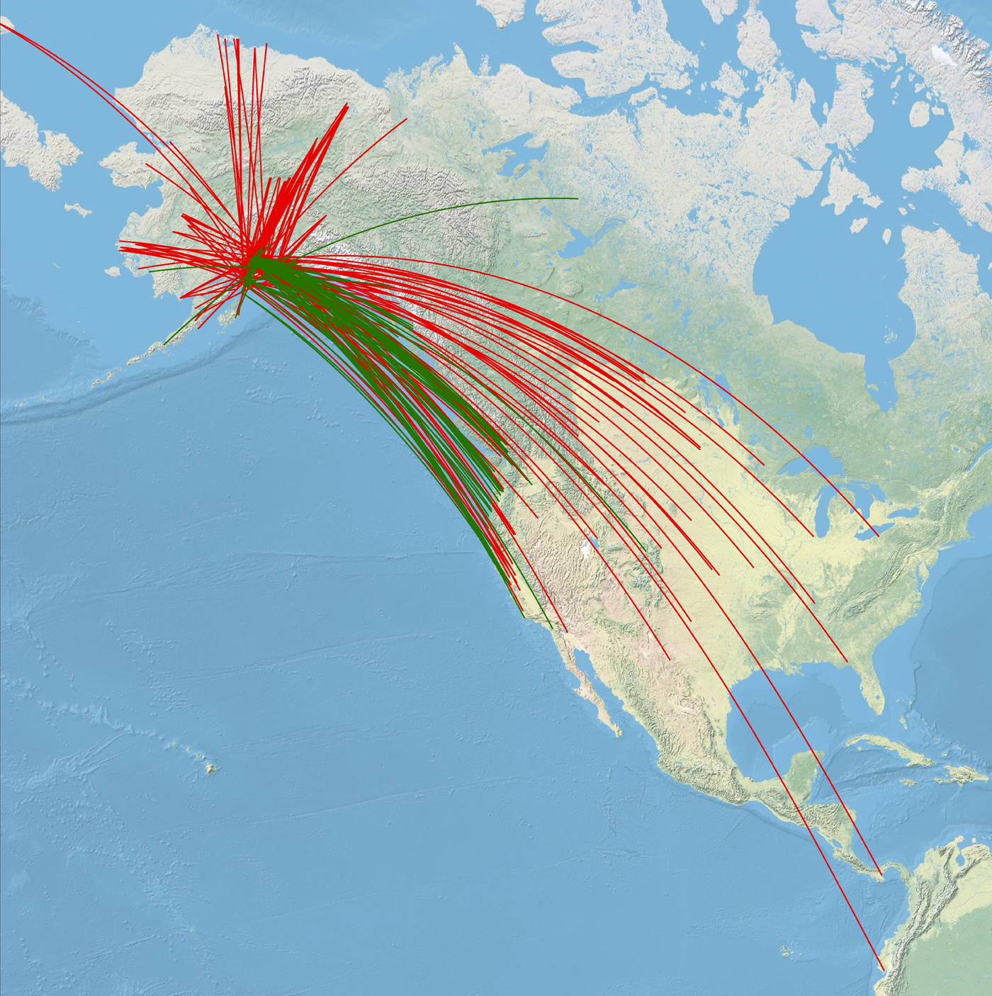 Records of migratory birds either banded on the Kenai Peninsula and recovered elsewhere (green) or banded elsewhere and recovered on the peninsula (red). Data from USGS Bird Banding Laboratory.