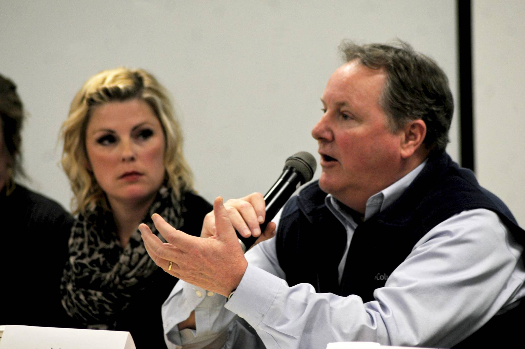 Jim Butler, a Kenai attorney and Cook Inlet commercial setnet fisherman, addresses a question during a forum on salmon habitat policy at Cook Inlet Aquaculture Association's headquarters Thursday, Dec. 14, 2017 in Kenai, Alaska. A group of panelists discussed the merits of the current salmon habitat permitting process, contained within Title 16 of the Alaska Administrative Code, and a proposed ballot initiative that would significantly tighten restrictions on permitting for projects that impact salmon streams. (Photo by Elizabeth Earl/Peninsula Clarion)