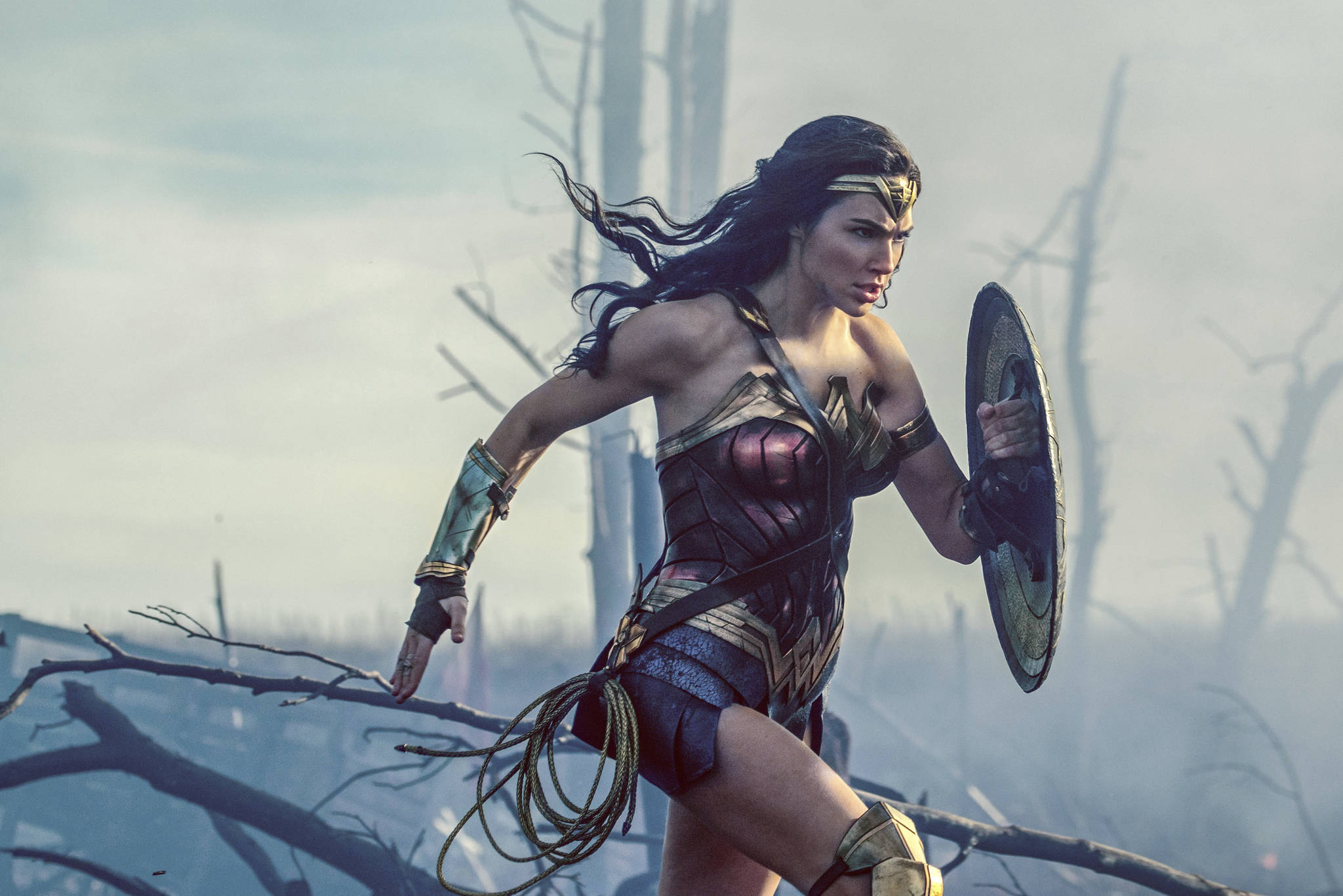 """This file image released by Warner Bros. Entertainment shows Gal Gadot charging through No Man's Land during a WWI battle scene from """"Wonder Woman."""" (Clay Enos/Warner Bros. Entertainment via AP, File)"""