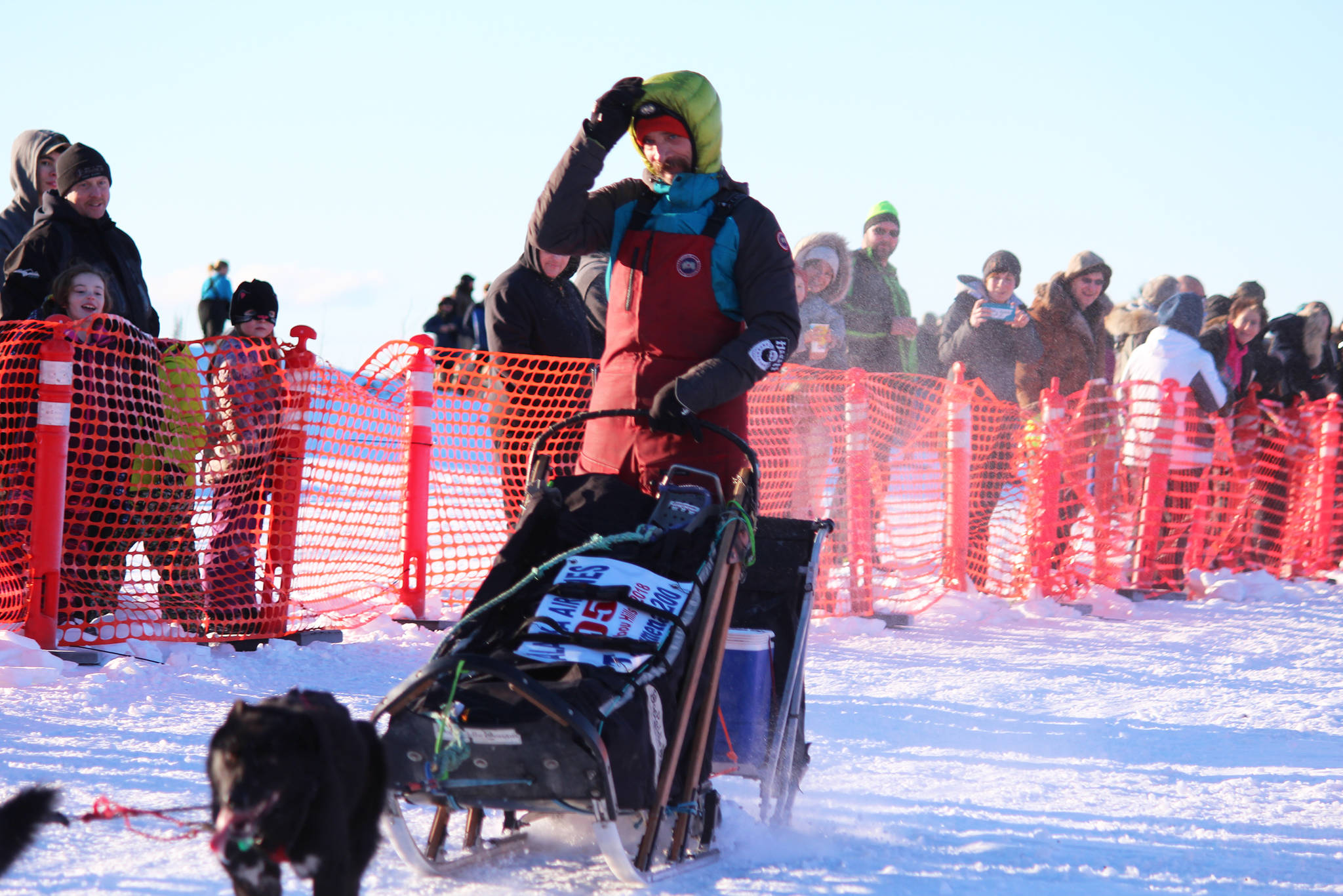 Musher Lance Mackey takes off from the starting line of the Tustumena 200 Sled Dog Race with his team Saturday, Jan. 27, 2018 at Freddie's Roadhouse in Ninilchik, Alaska. Lance returns to the race this year after being absent since about 2010, he said. The race was also canceled three years in a row from 2014-2016. (Photo by Megan Pacer/Homer News)