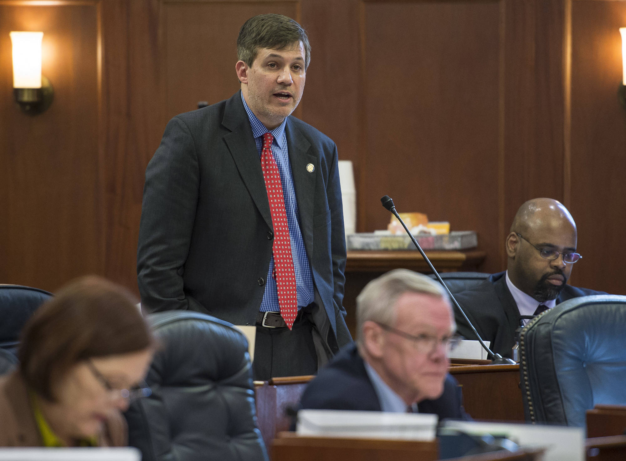 Sen. Bill Wielechowski, D-Anchorage, speaks to his amendment to the state's operating budget to inflation proof the Alaska Permanent Fund in the Senate at the Capitol on Thursday, April 12, 2018. The amendment was voted down 11-9. (Michael Penn | Juneau Empire)