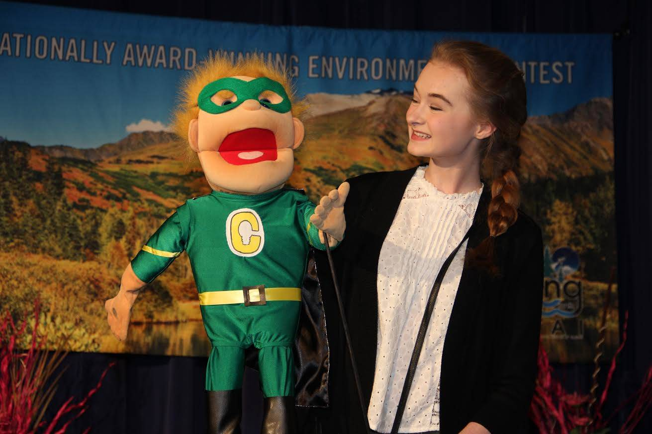 Anya Hondel of Soldotna took top prize at last year's Caring for the Kenai competition with her project, a puppet named Captain Conservation. Hondel will be a judge on this year's panel. (Photo courtesy Caring for the Kenai)