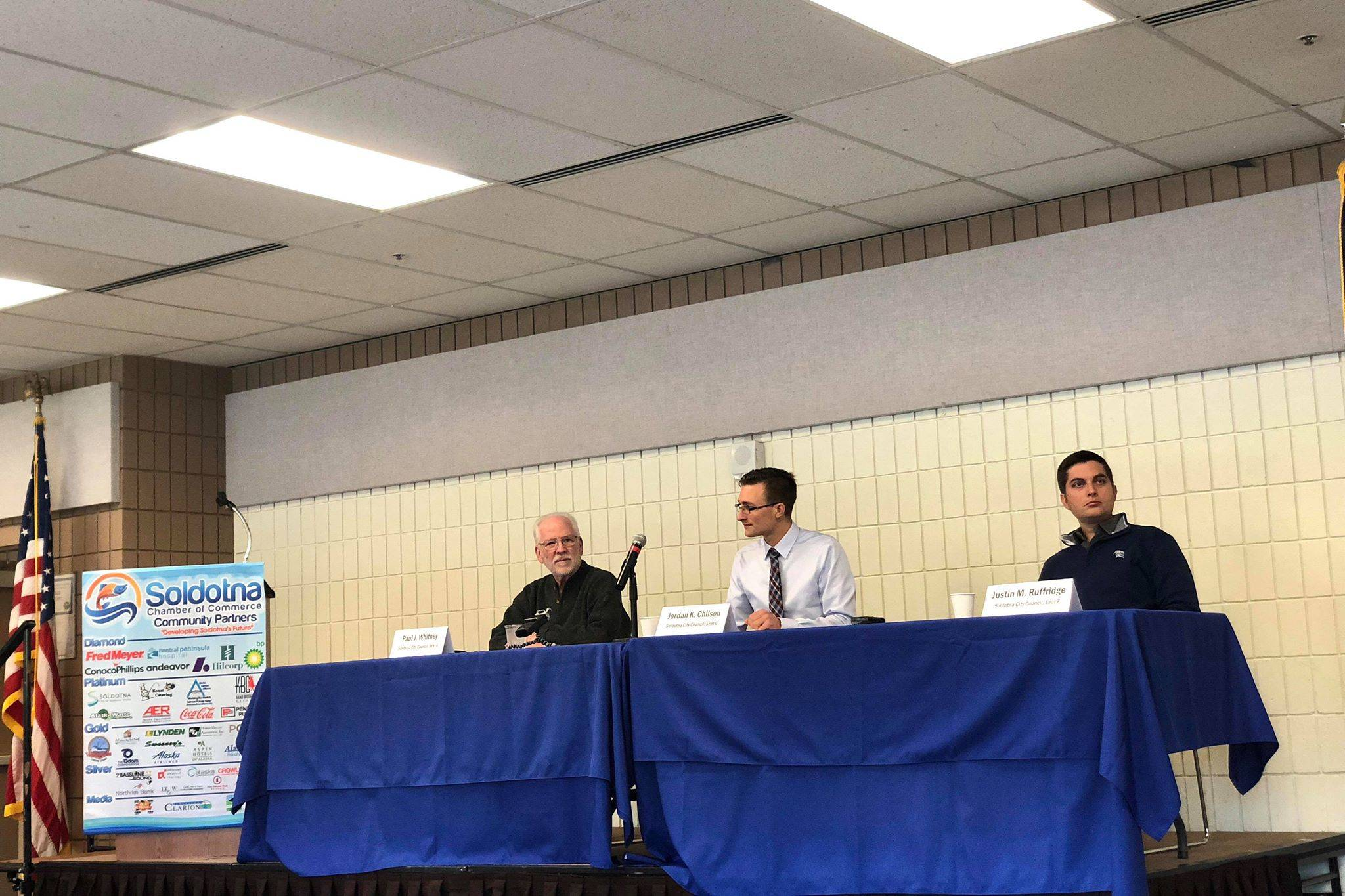 Candidates for Soldotna City Council, Paul Whitney, Jordan Chilson and Justin Ruffridge discuss issues Soldotna is facing on Wednesday, Sept. 26, 2018, in the Soldotna Chamber Luncheon in Soldotna, Alaska. (Photo by Victoria Petersen/Peninsula Clarion)