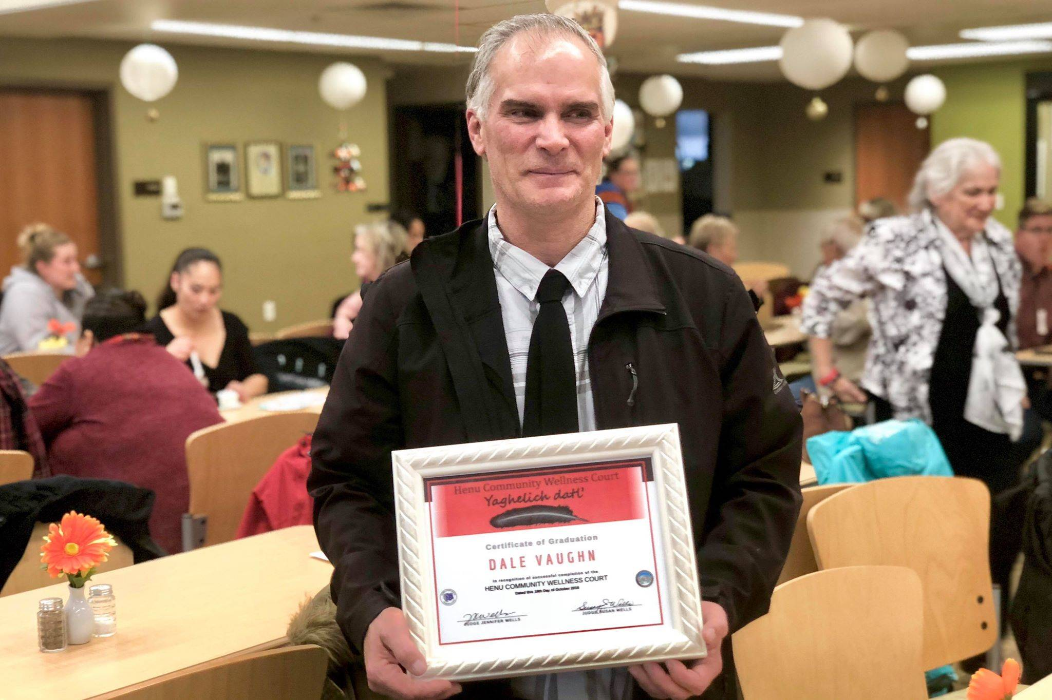 Dale Vaughn, is one of the first graduates of the Kenaitze Indian Tribe's Henu' Community Wellness Court program, on Friday, Oct. 19, 2018, in Kenai, AK. (Photo by Victoria Petersen/Peninsula Clarion)