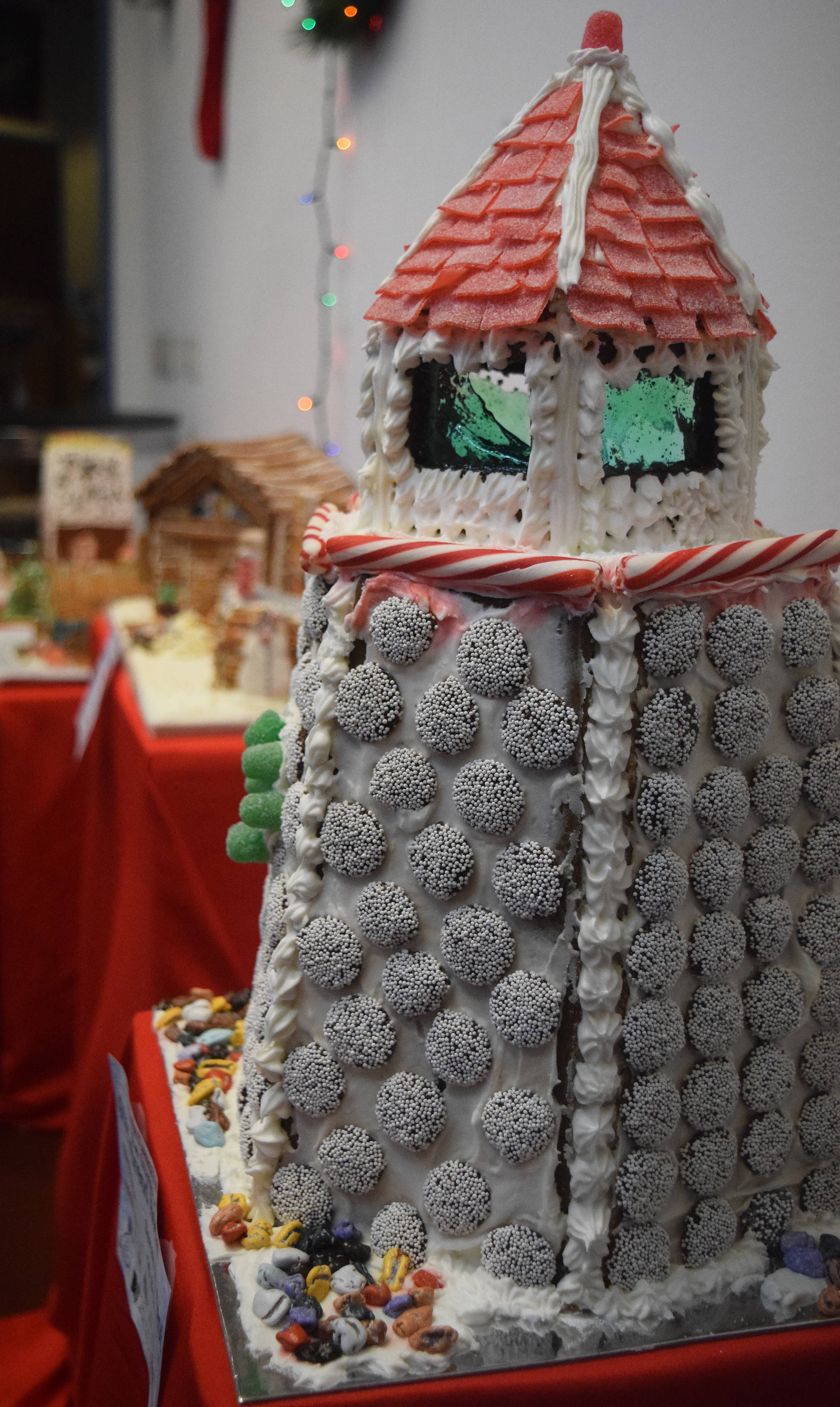 An entry by Sarah Roberts sits on display in the Kenai Chamber of Commerce and Visitor Center gingerbread house contest. The gingerbread houses will be on display until Dec. 21 in the visitor center. (Photo by Joey Klecka/Peninsula Clarion)