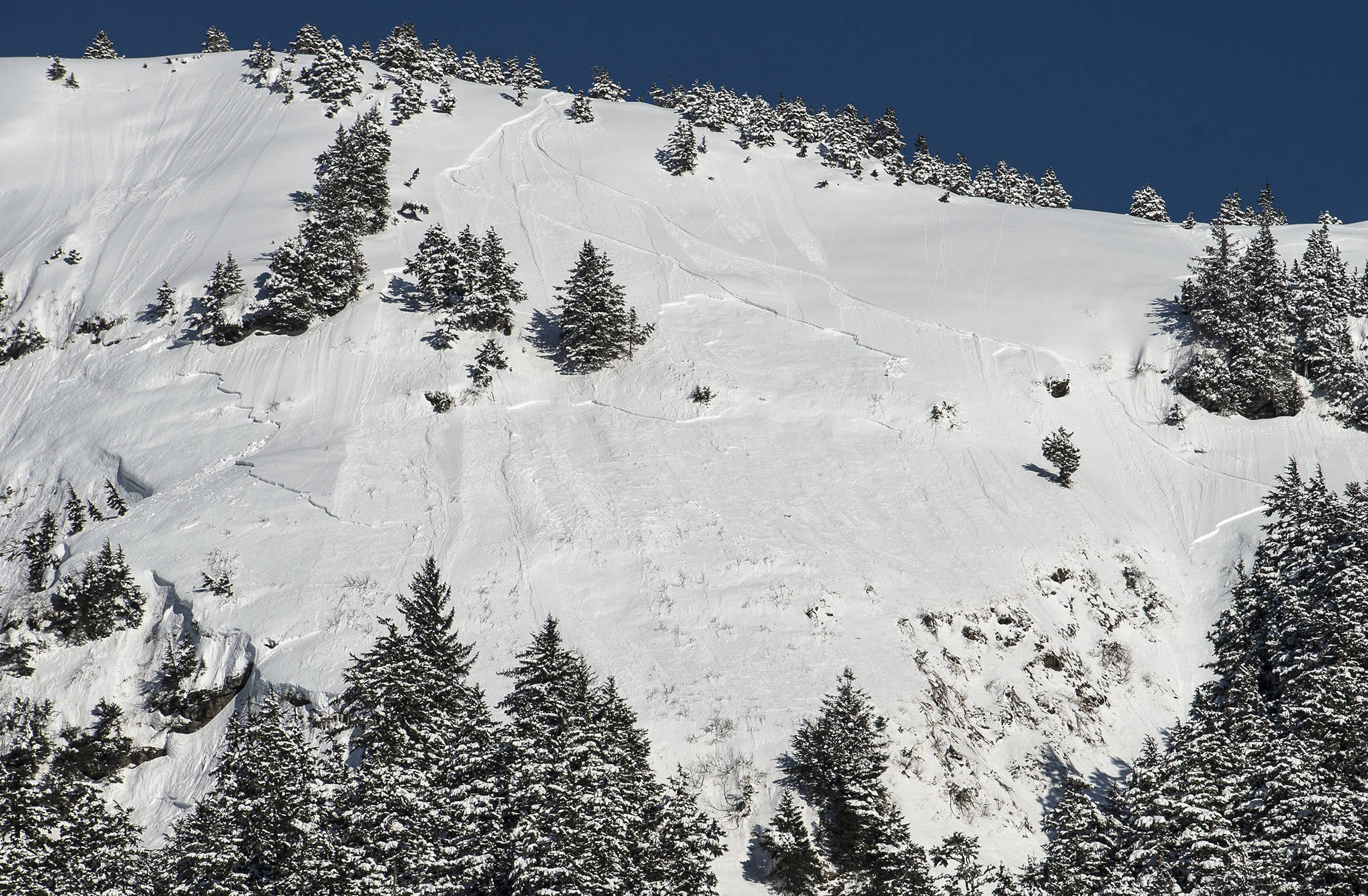 An area known as Showboat shows where a skier triggered an avalanche on Saturday, March 4, 2017. He was taken to Bartlett Regional Hospital. The area is outside of the Eaglecrest Ski Area boundary.