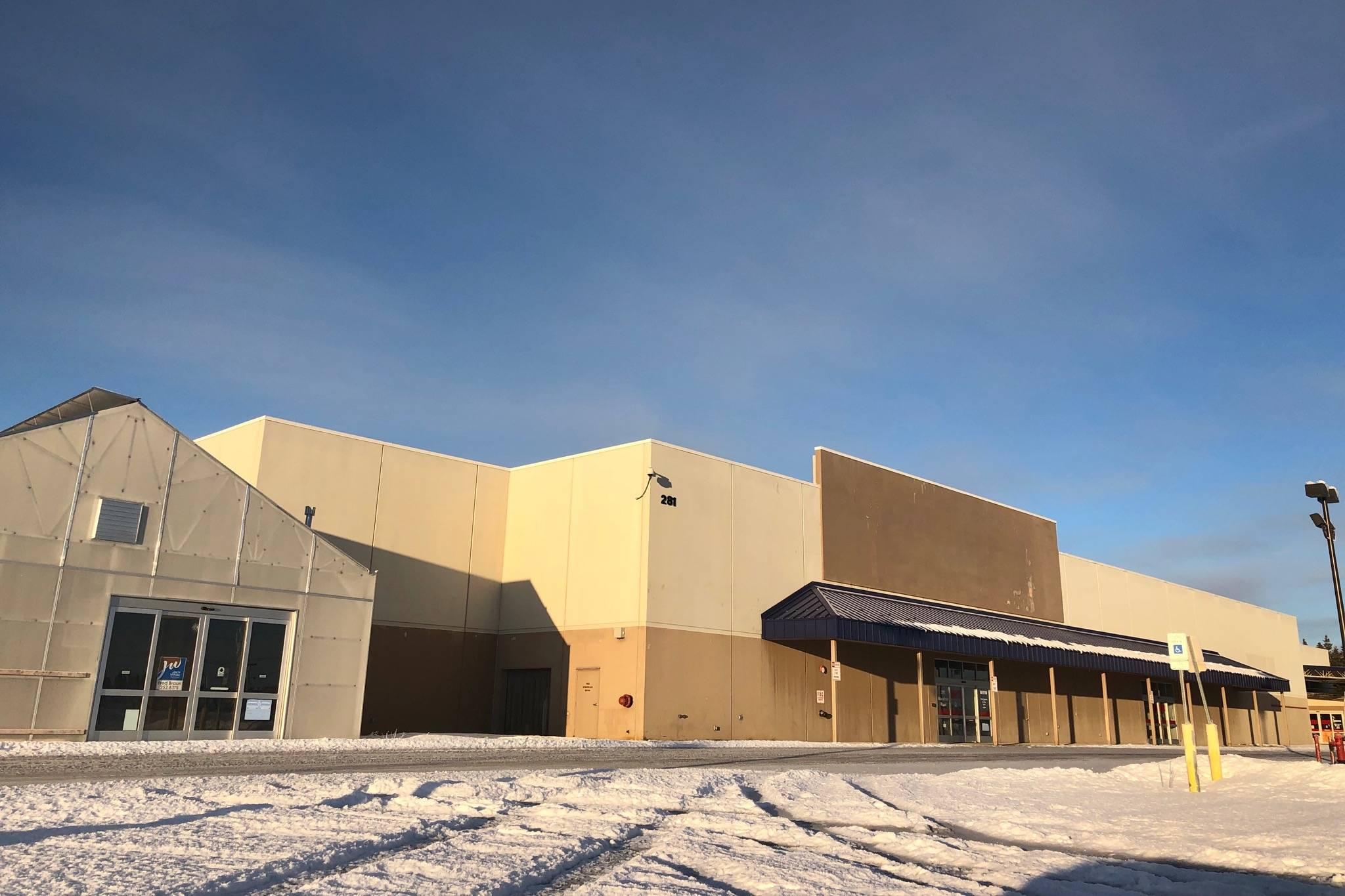 The former Lowe's Home Improvement warehouse space on Marathon Road in Kenai stands empty Friday. (Photo by Victoria Petersen/Peninsula Clarion)