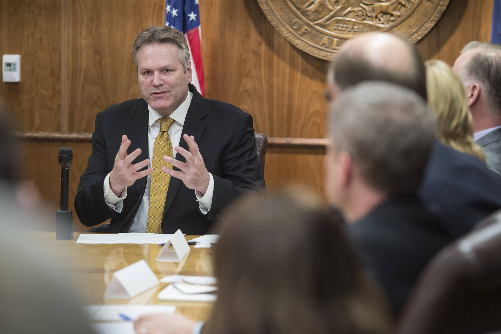 Gov. Mike Dunleavy meets with his cabinet members and gives attending media a list of his administration's priorities at the Capitol on Tuesday, Jan. 8, 2019. The 31st Legislative Session opens next Tuesday. (Michael Penn | Juneau Empire)