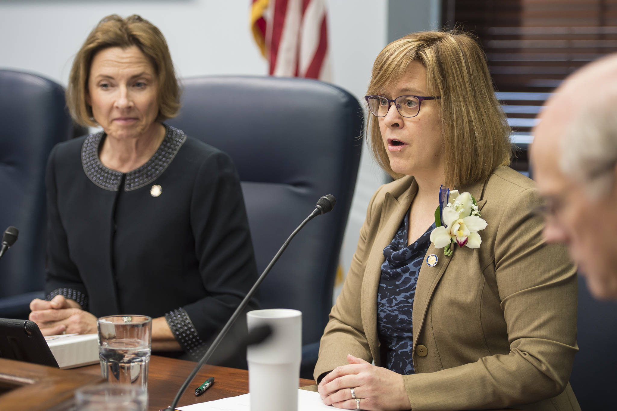 Sen. Mia Costello, R-Anchorage, right, and Senate President Cathy Giessel, R-Anchorage, speak during a Senate Majority press conference on the opening day of the 31st Session of the Alaska Legislature on Tuesday, Jan. 15, 2019. (Michael Penn | Juneau Empire)