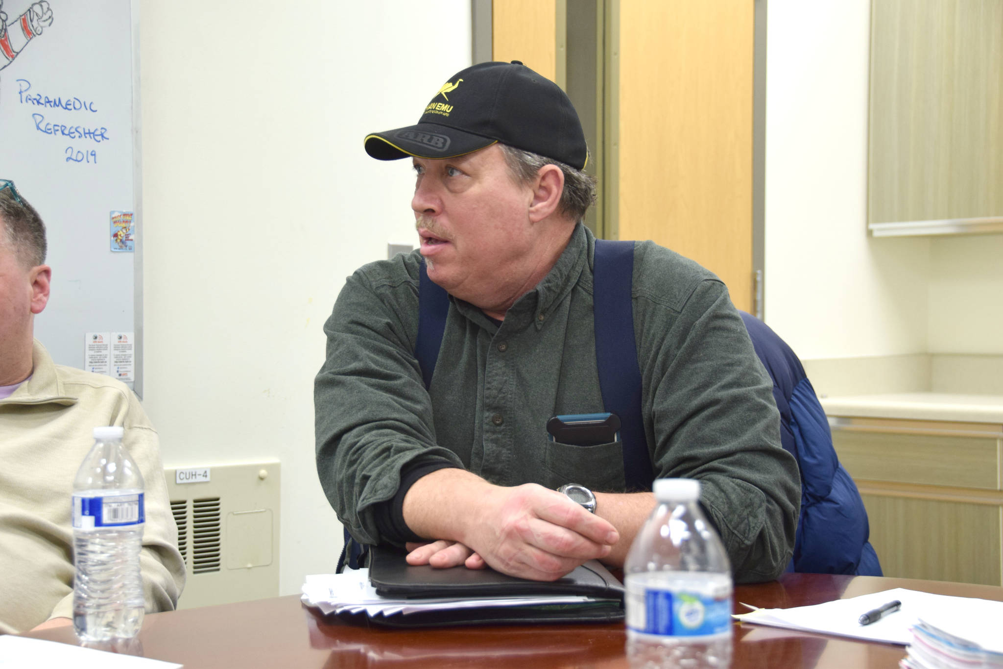 Paul Huber, co-chair of the Citizens for Nikiski Incorporation, speaks at a meeting at the Nikiski Fire Station 2 on Thursday, Jan. 24, 2019.