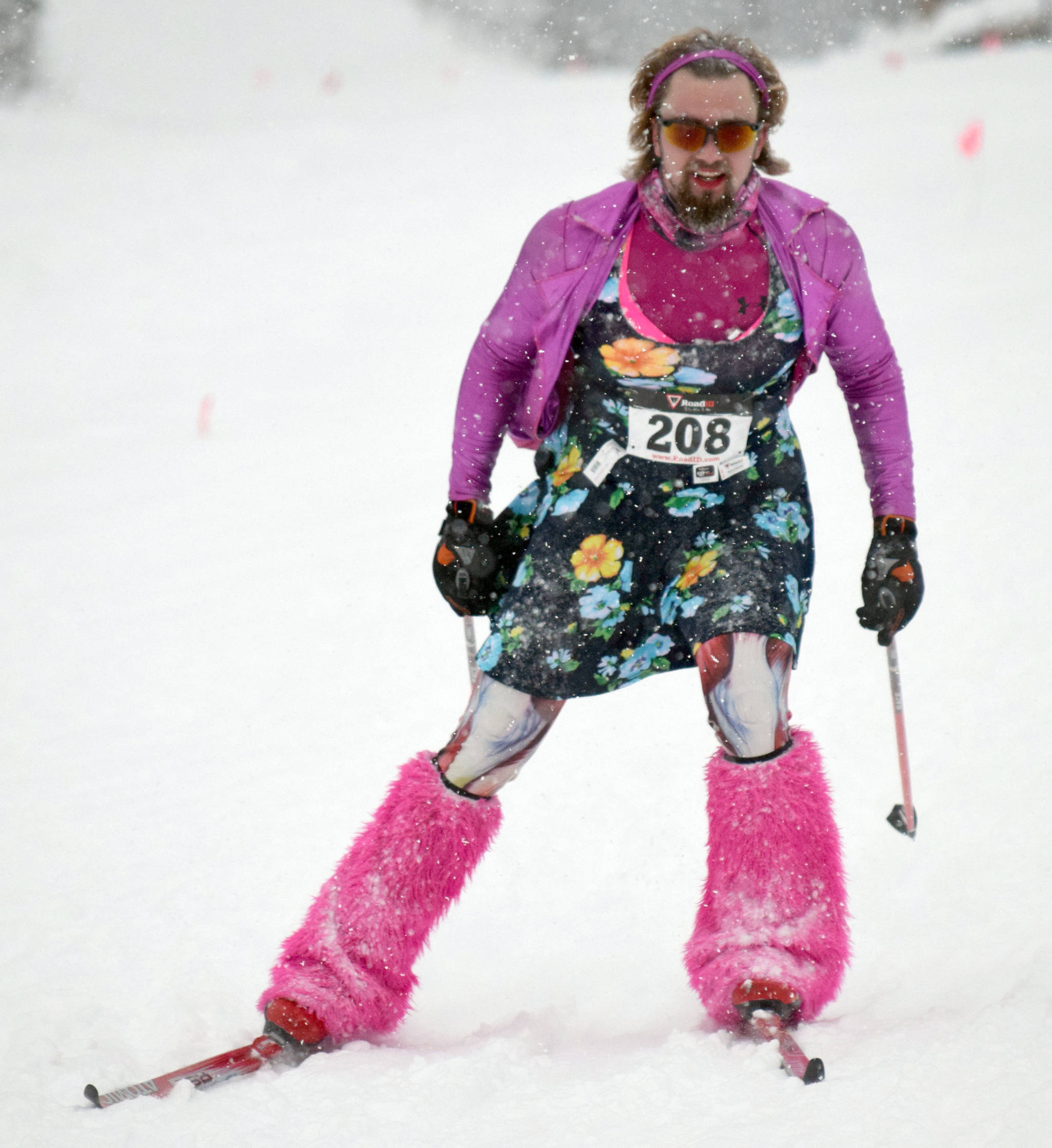 Nate Mole competes in the drag race Sunday, Feb. 3, 2019, at the Ski for Women at Tsalteshi Trails. (Photo by Jeff Helminiak/Peninsula Clarion)
