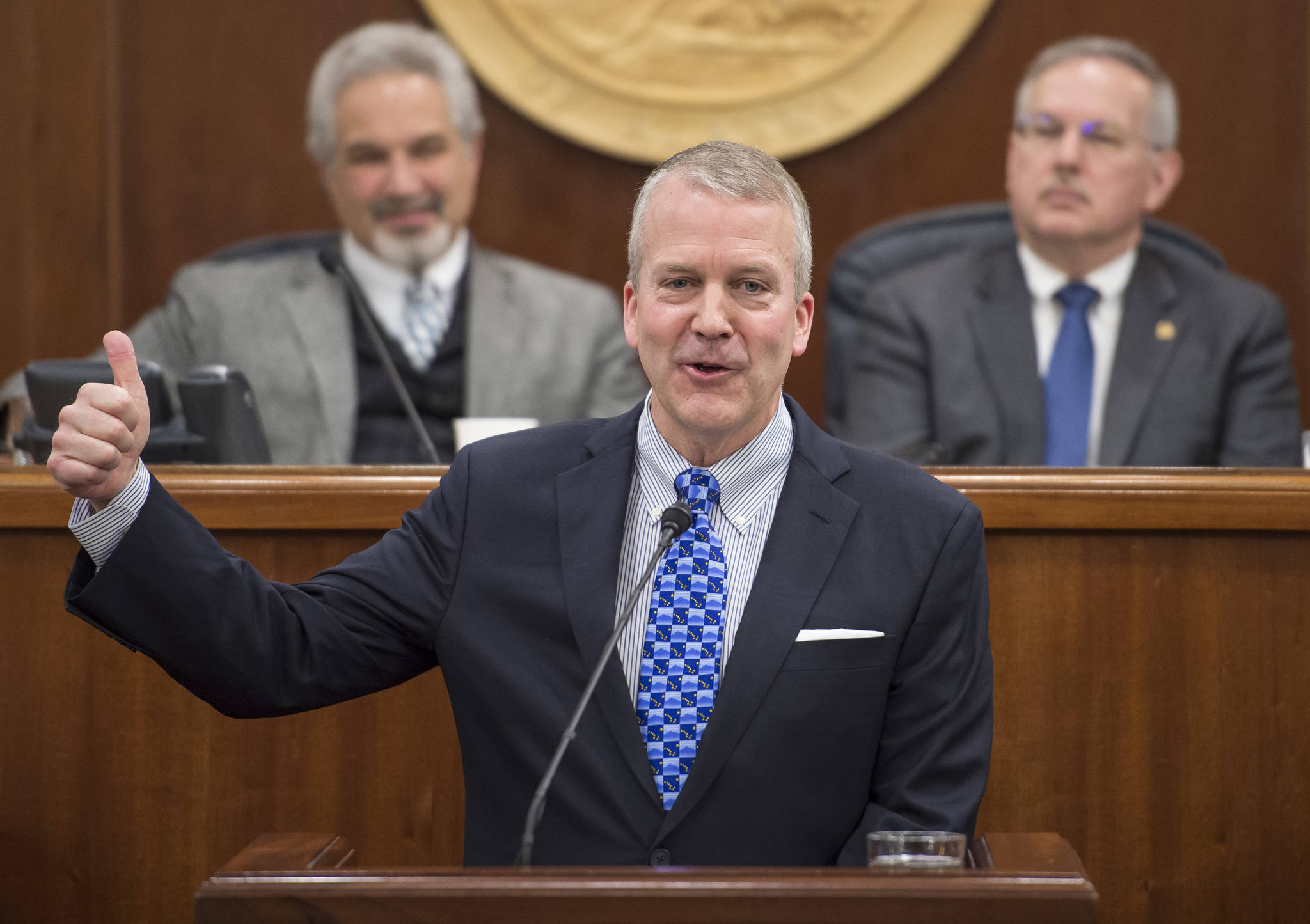 In this Feb. 26, 2018 photo, U.S. Sen. Dan Sullivan, R-Alaska, gives a thumbs up while speaking about the opening of the Arctic National Wildlife Refuge to oil drilling during his annual speech to a joint session of the Alaska Legislature at the Capitol. (Michael Penn | Juneau Empire File)
