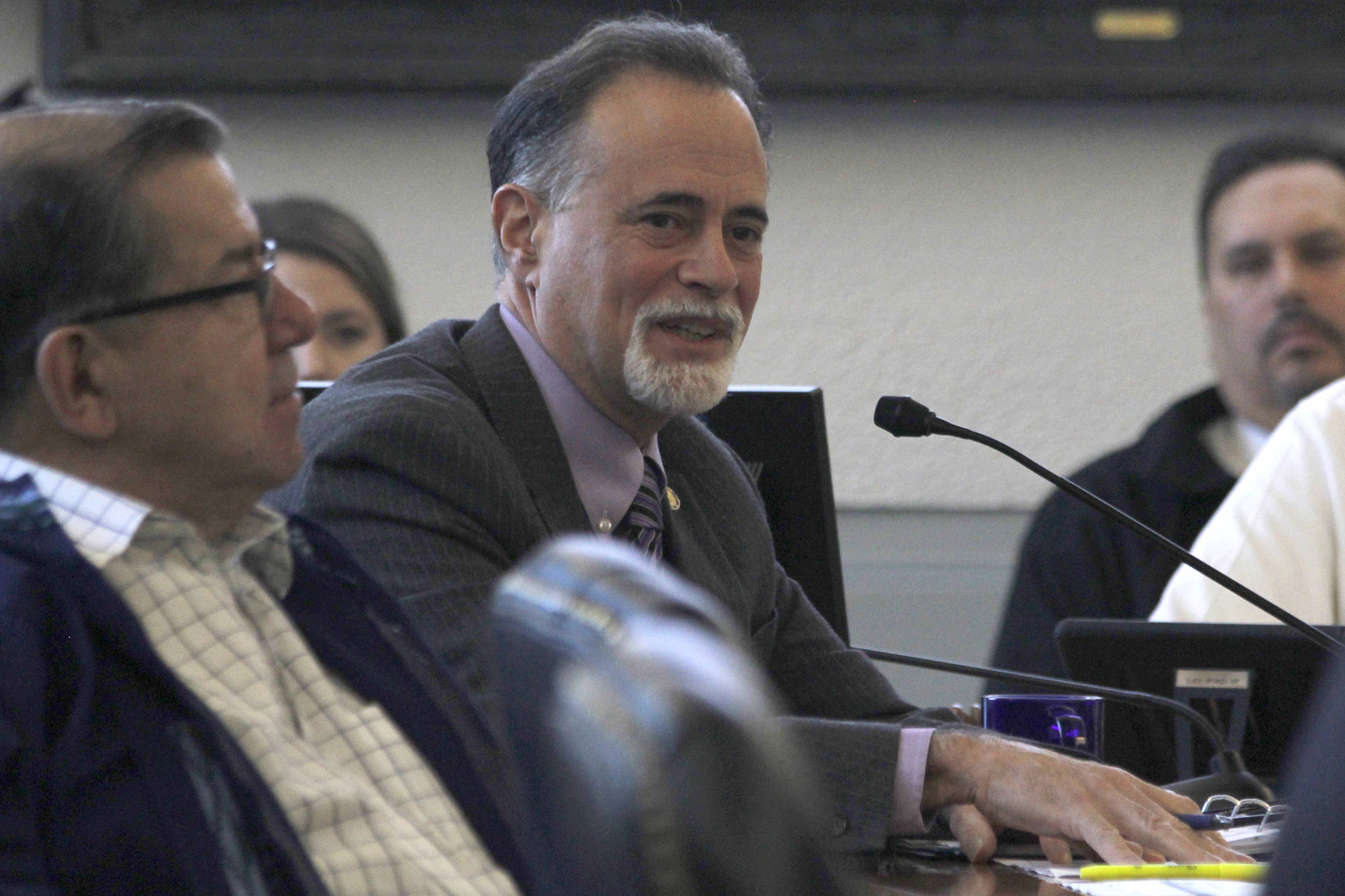 Sen. Peter Micciche, R-Soldotna, poses questions to Department of Corrections and Office of Management and Budget officials during a Senate Finance Committee meetingon Friday, Feb. 15, 2019. (Alex McCarthy | Juneau Empire)