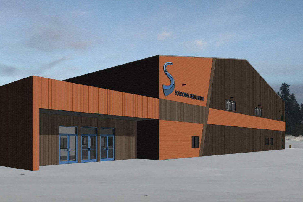 A rendering of the proposed Soldotna Regional Sports Complex field house. Voters rejected a proposition to take out a $10 million bond to pay for the project by a narrow margin Tuesday. (City of Soldotna)
