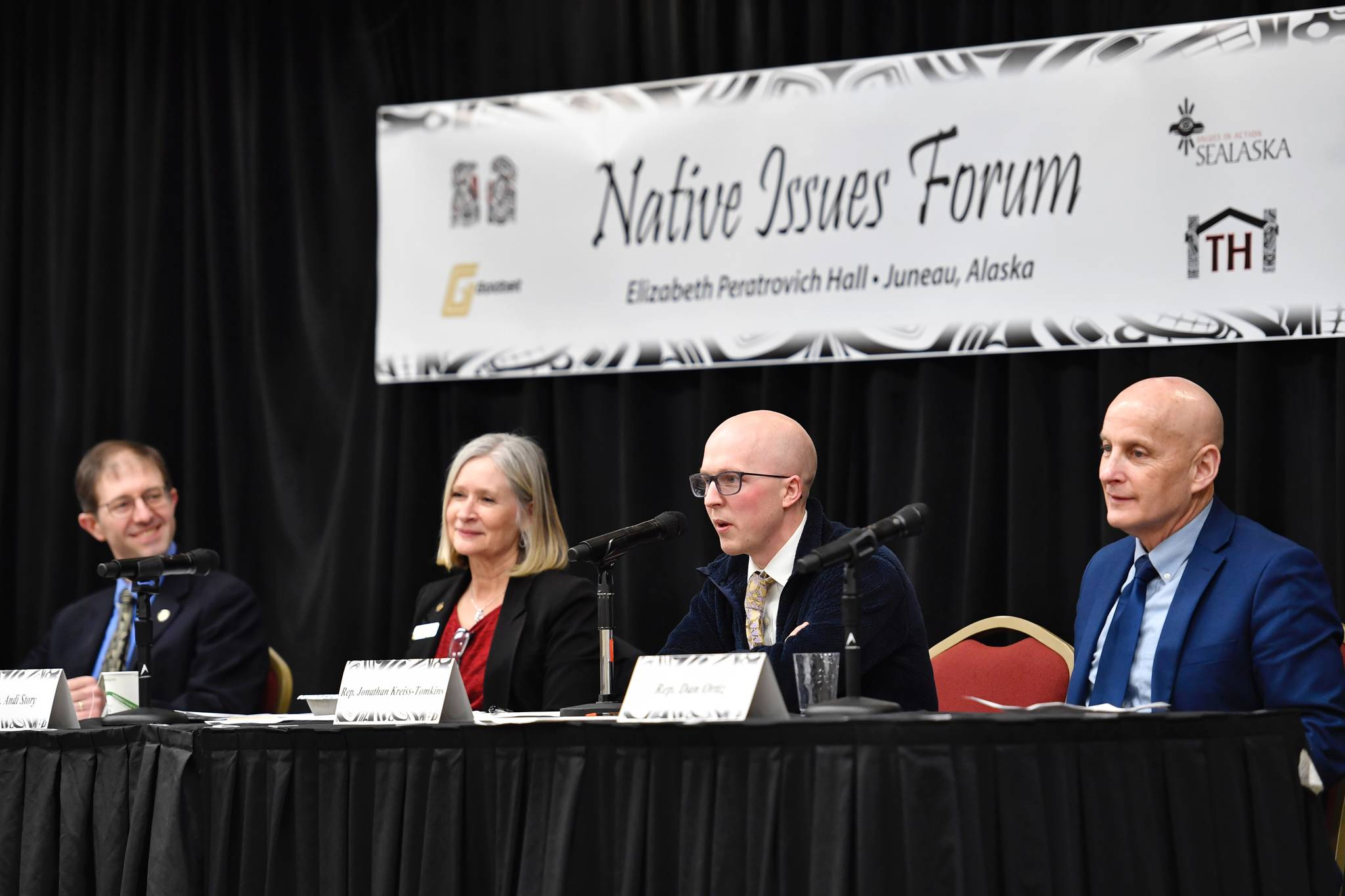 Sen. Jesse Kiehl, D-Juneau, left, Rep. Andi Story, D-Juneau, Rep. Jonathan Kreiss-Tompkins, D-Sitka, and Rep. Dan Ortiz, I-Ketchikan, right, speak at the Native Issues Forum in the Elizabeth Peratrovich Hall on Wednesday, March 13, 2019. (Michael Penn | Juneau Empire)