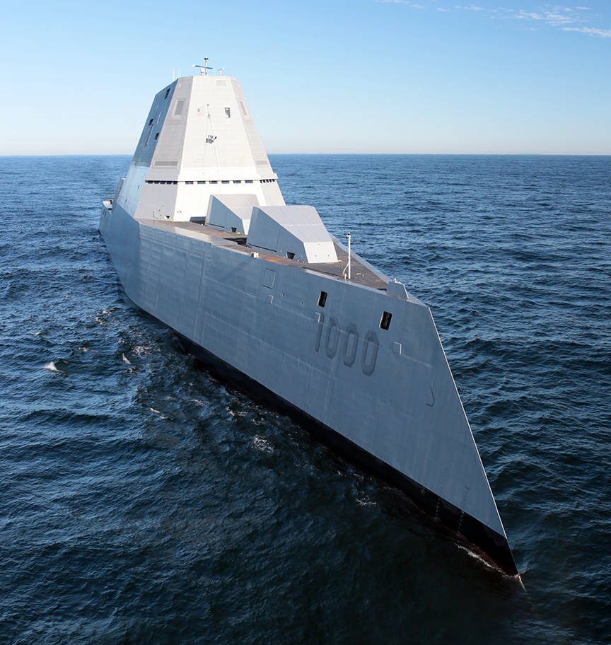 The USS Zumwalt pictured here during a voyage to San Diego is in Ketchikan this weekend. (Courtesy Photo | U.S. Navy photo courtesy of General Dynamics Bath Iron Works/Released)