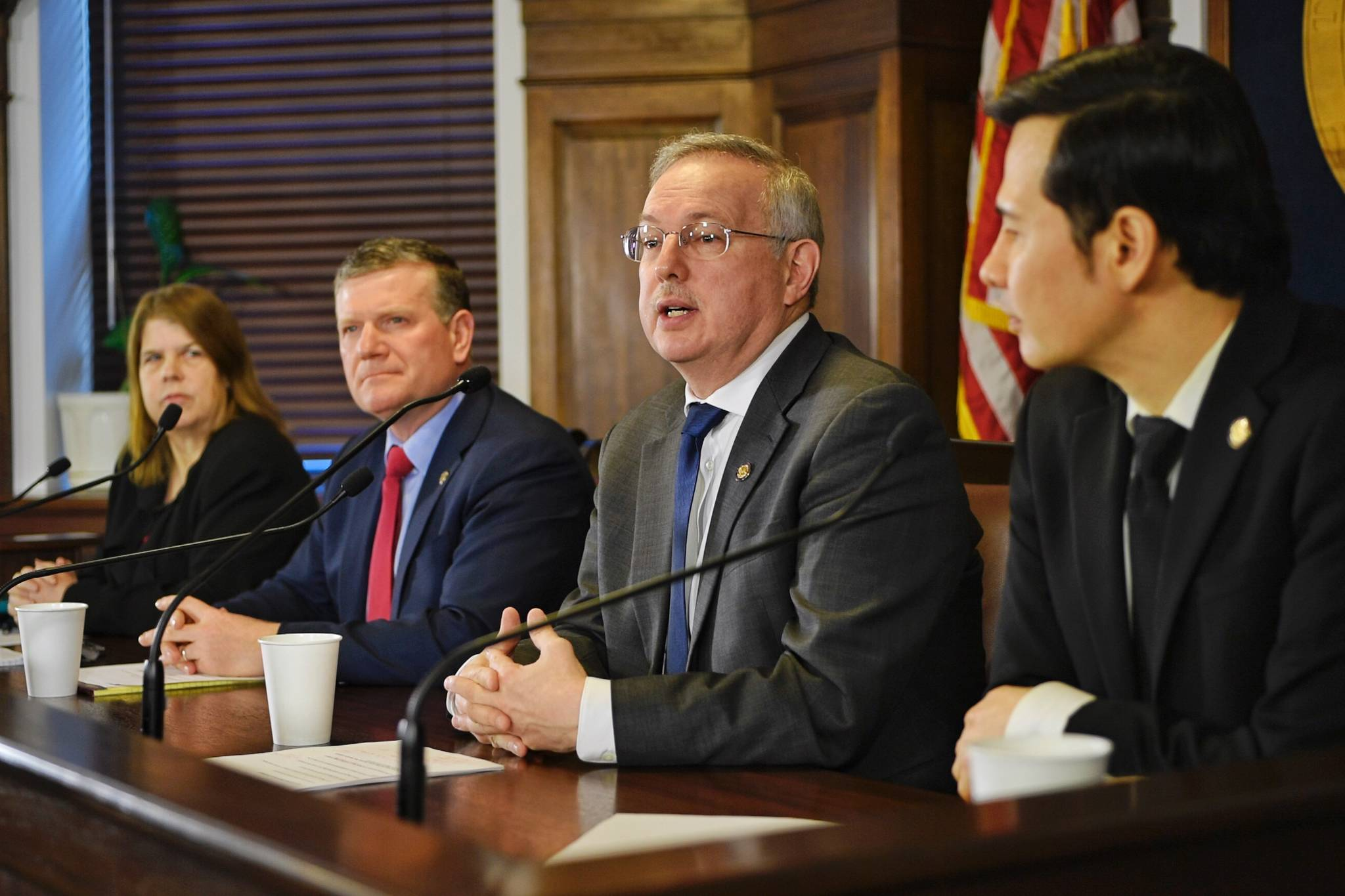 Speaker of the House Bryce Edgmon, I-Dillingham, second from right, speaks during a House Majority press conference at the Capitol on Thursday, March 28, 2019. Also attending the conference are Finance Committee co-chairs, Reps. Neal Foster, D-Nome, right and Tammie Wilson, R-North Pole, left, as well as Rep. Chuck Kopp, R-Anchorage, Chair of the Rules Committee. (Michael Penn | Juneau Empire)