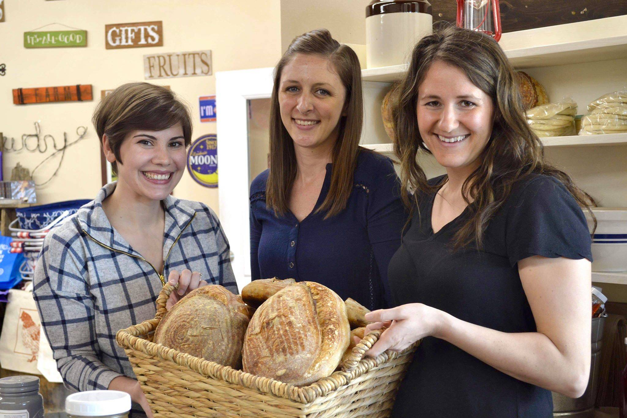 Local sourdough enthusiasts Lacy Ledahl, Maria Nolas and Elizabeth Cox taught a class at Maggie's General Store about the benefits and baking opportunities of sourdough, Saturday, April 13, 2019, in Kenai, Alaska. (Photo by Victoria Petersen/Peninsula Clarion)