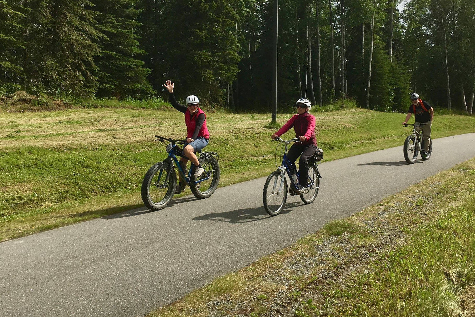 Bicyclists participate in a Full Moon Bike Ride in Soldotna, Alaska on July 27, 2018. (Photo courtesy of Jenn Tabor/BiKS)