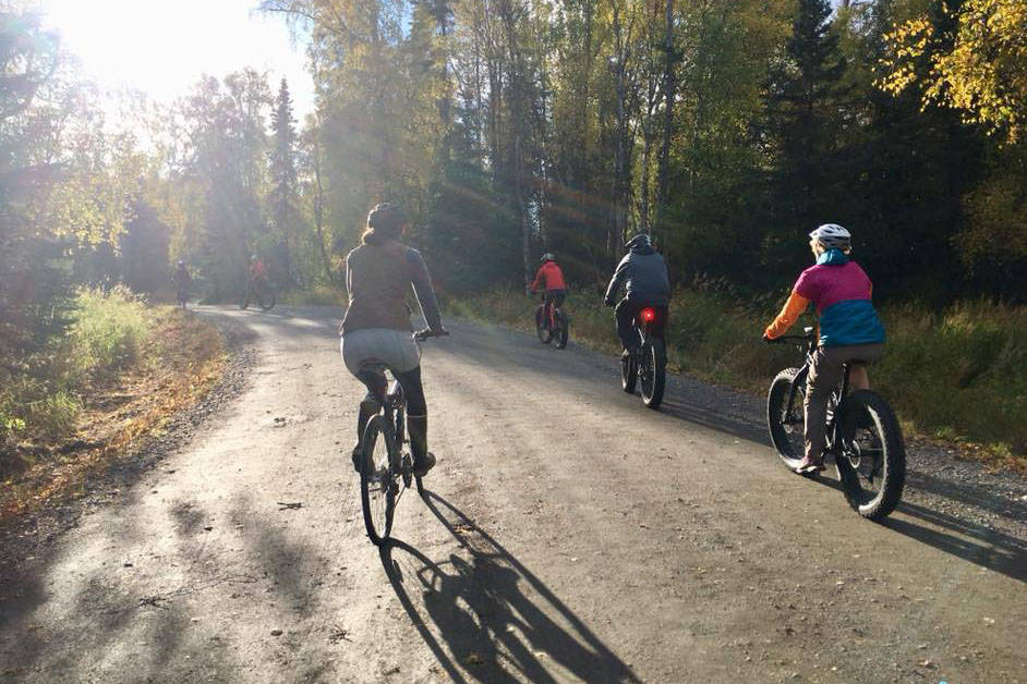 Bicyclists participate in a Full Moon Bike Ride in Swiftwater Park in Soldotna, Alaska on Sep. 24, 2018. (Photo courtesy of Jenn Tabor/BiKS)