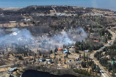 An aerial view of a brush fire in Ninilchik on Saturday. (Photo by Tim Whitesell/Division of Forestry)