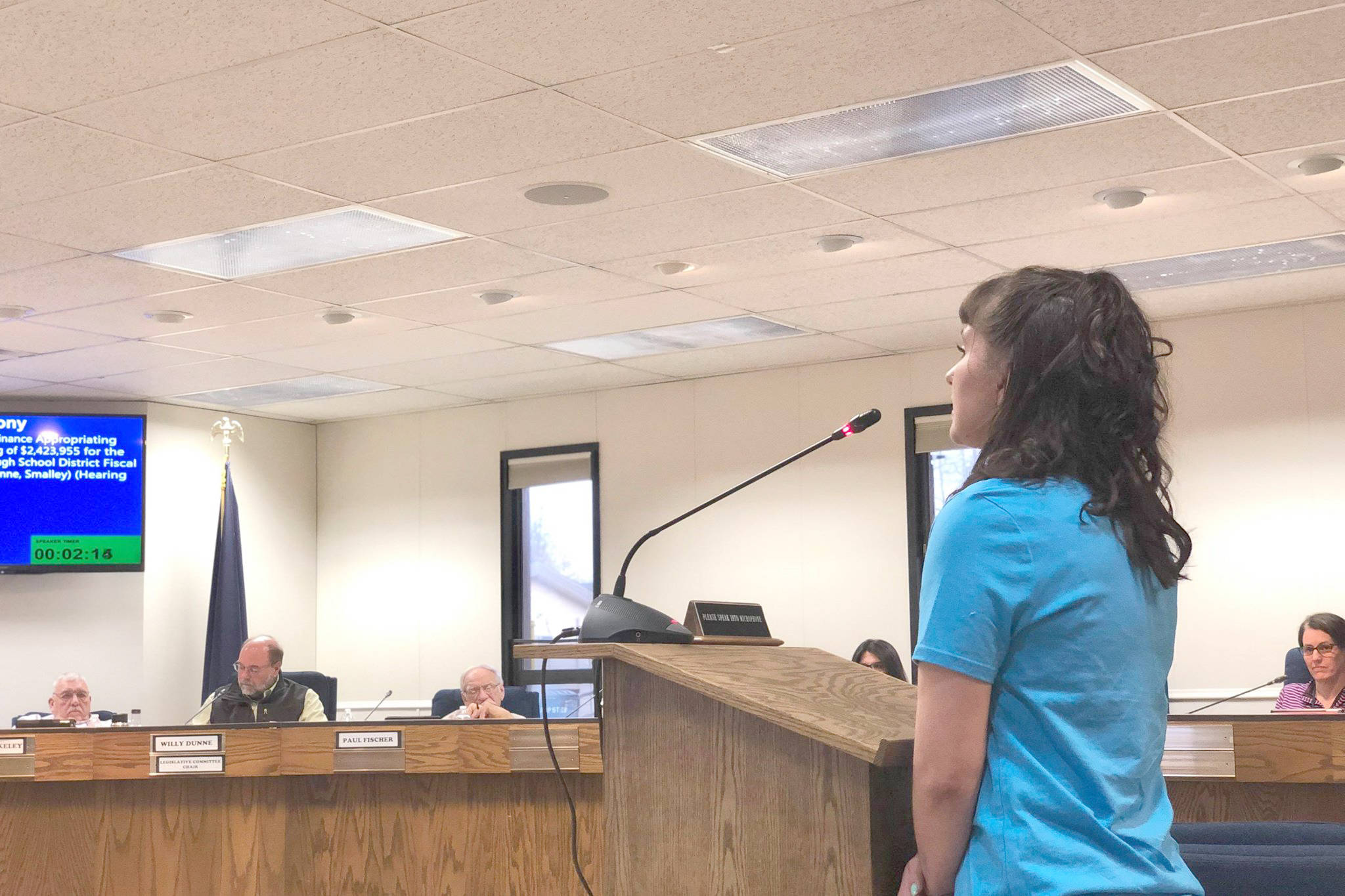 First-year Chapman School teacher Malia Larson speaks to the Kenai Peninsula Borough Assembly in support of an ordinance that will appropriate around $2.4 million to the school district in hopes of retaining some non-tenured teachers for the next school year, in Soldotna, Alaska, on Tuesday, April 2, 2019. (Photo by Victoria Petersen/Peninsula Clarion)