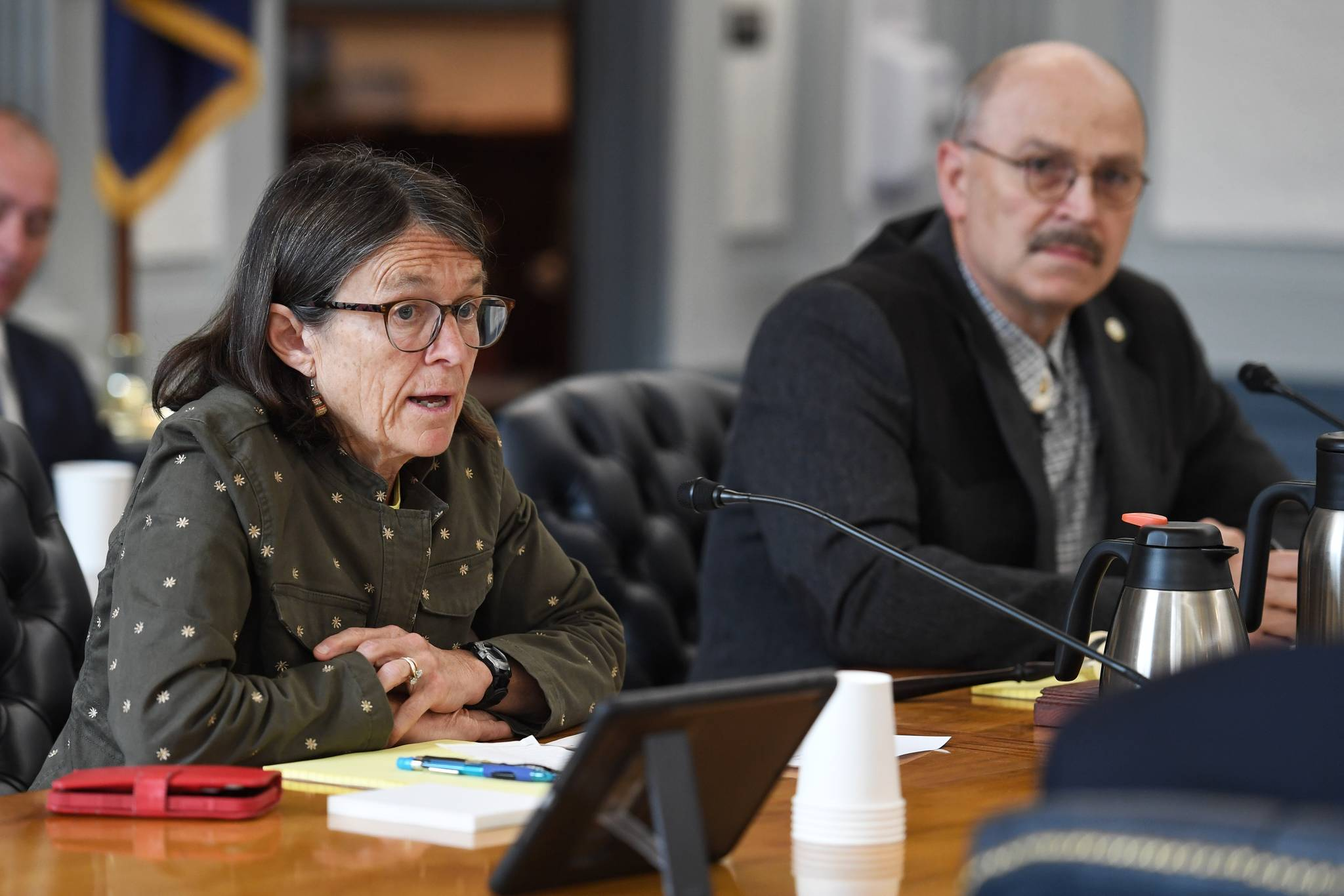 Co-Chairs Rep. Jennifer Johnston, R-Anchorage, left, and Sen. Click Bishop, R-Fairbanks, talk about the work to be done during the first meeting of a joint committee to work on the future of the Alaska Permanent Fund Dividend at the Capitol on Wednesday, June 12, 2019. (Michael Penn | Juneau Empire)