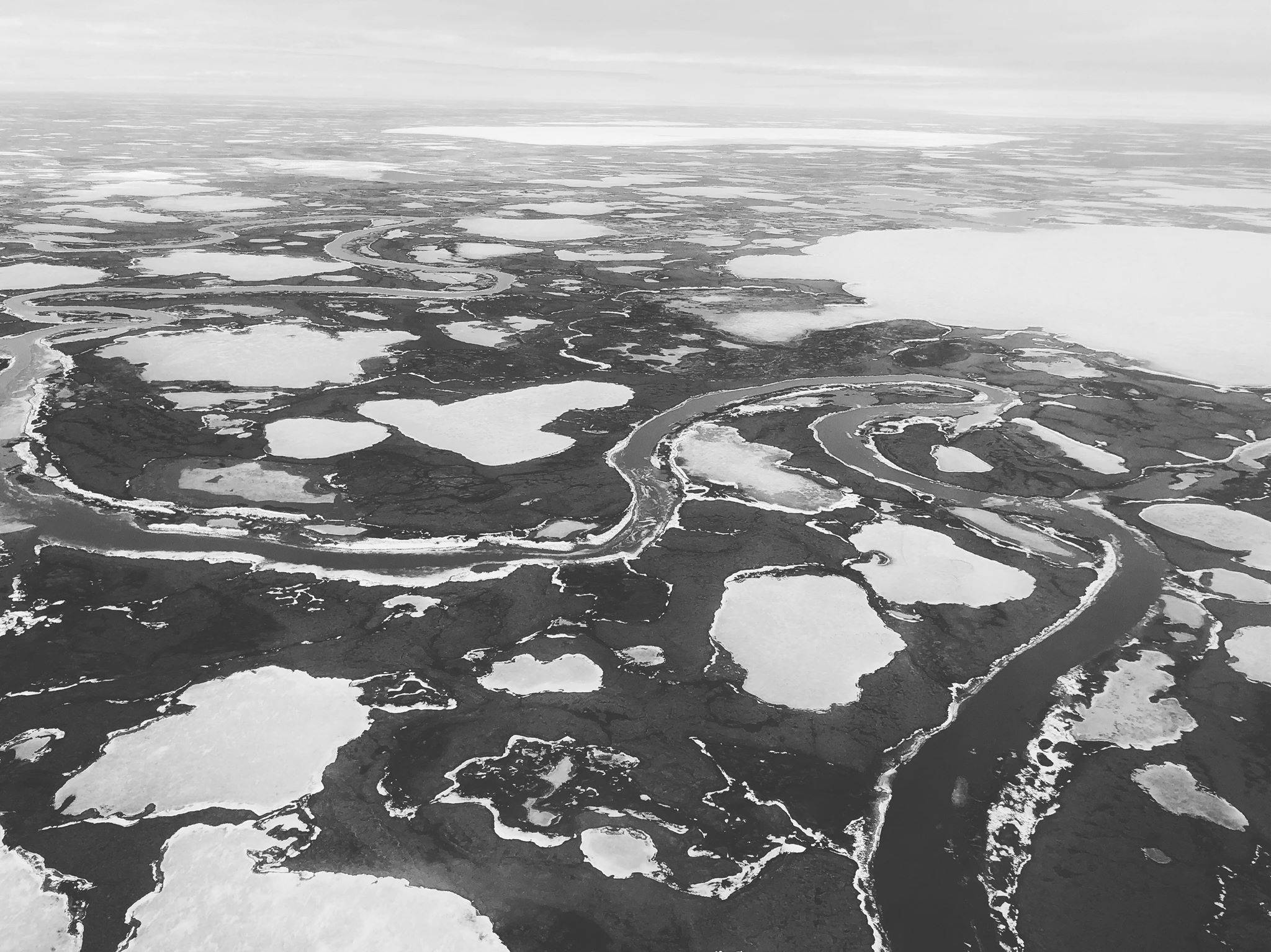 Flying over western Alaska, home to numerous Yup'ik communities, April 15, 2019. (Photo by Victoria Petersen/Peninsula Clarion)