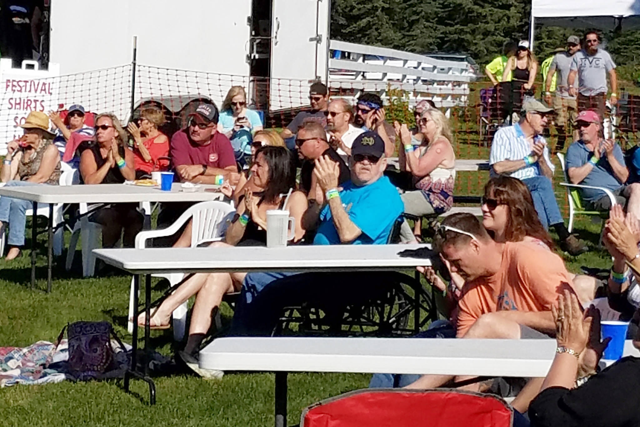 A group of concertgoers enjoy the music at the 2018 Rock'n the Ranch at the Rusty Ravin music festival in Kenai. (Photo provided by Valerie Anderson)