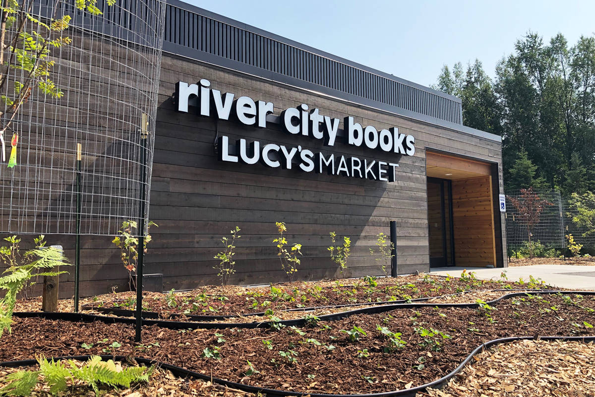 The front facade of the relocated River City Books and Lucy's Market in Soldotna, Alaska. (Photo by Joey Klecka/Peninsula Clarion)