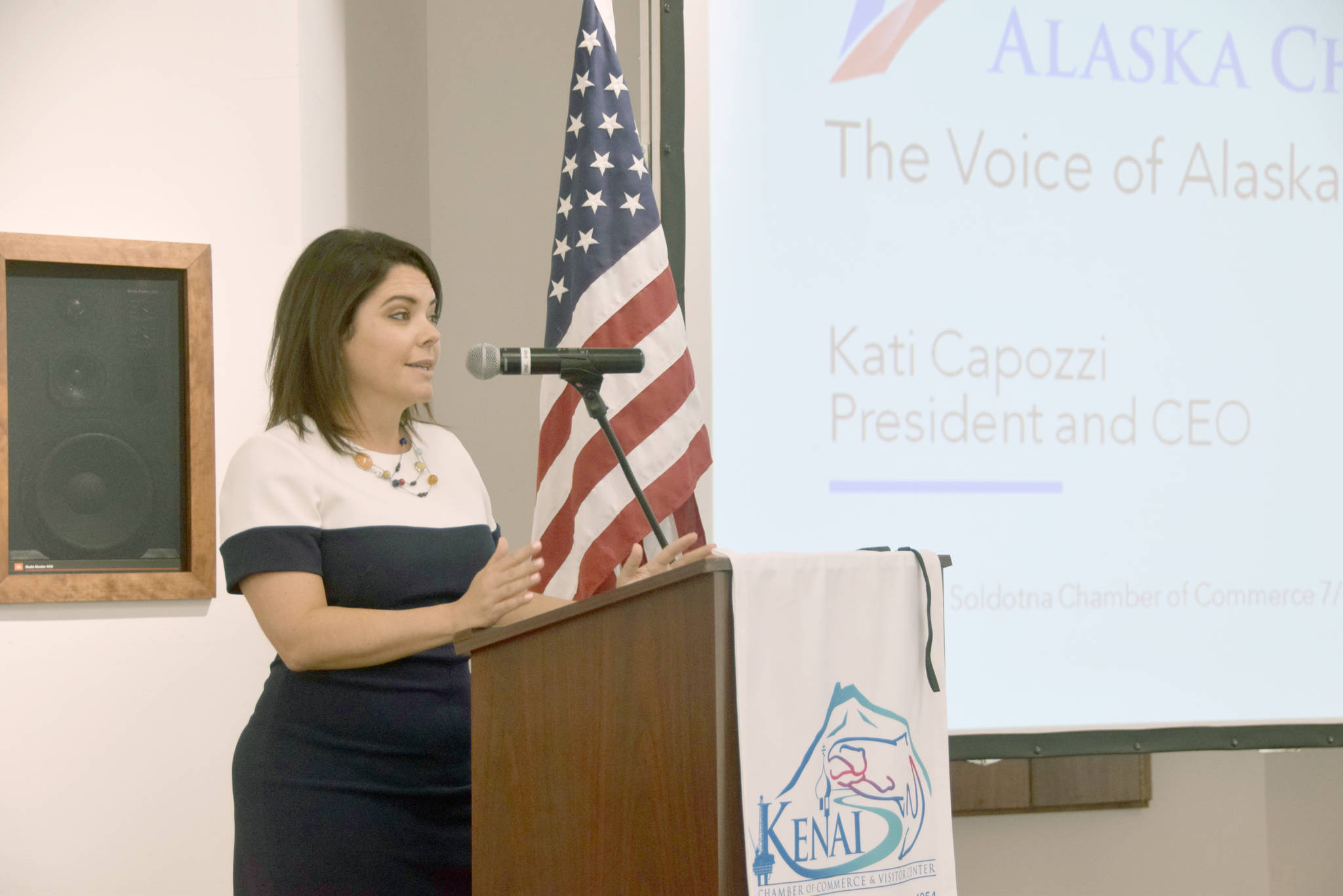 Kati Capozzi, president and CEO of the Alaska Chamber of Commerce, gives a presentation to the Kenai Chamber of Commerce on Wednesday. (Photo by Brian Mazurek/Peninsula Clarion)