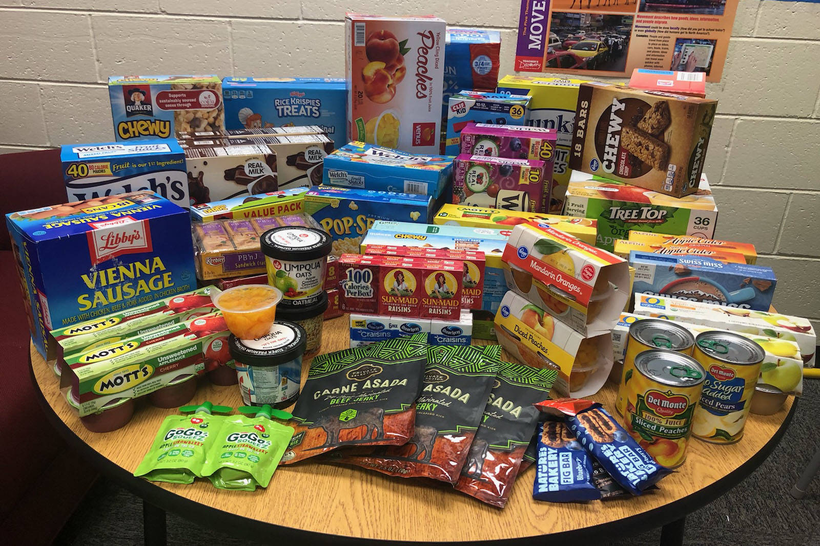The food collected during Skyview Middle School's snack drive can be seen here at Skyview Middle School in Soldotna, Alaska on Sept. 20, 2019. (Photo courtesy Sheilah-Margaret Pothast)
