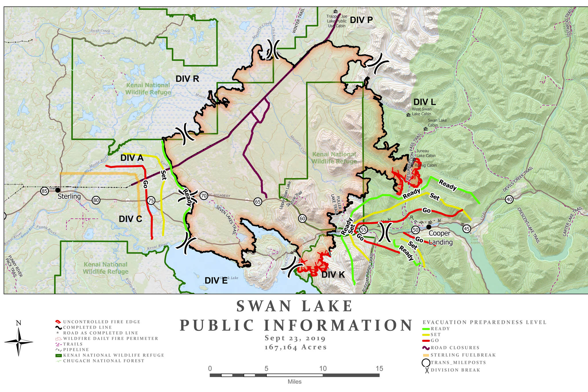 A map of the Swan Lake Fire as of Sept. 23, 2019. (Courtesy Alaska Type 3 Organization)