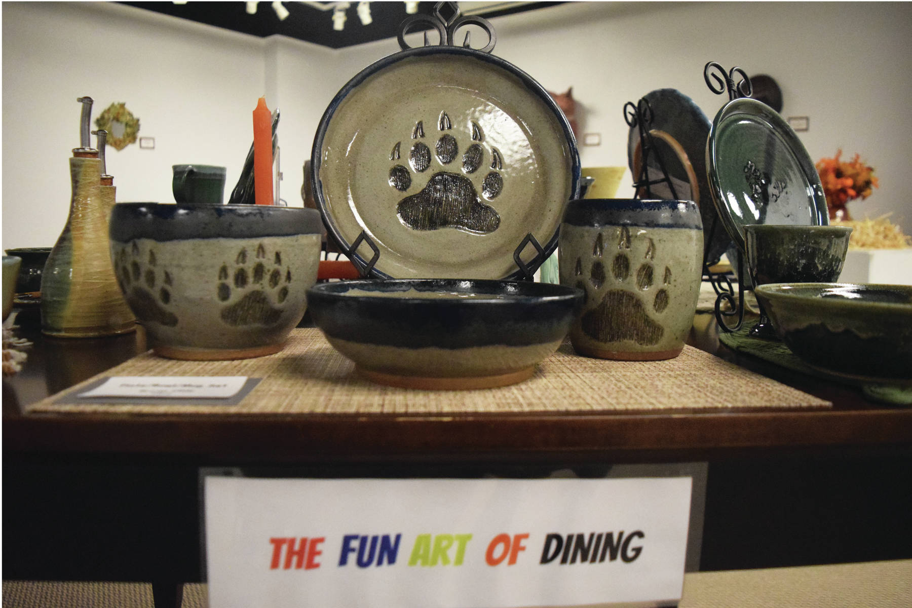 "Photos by Joey Klecka / Peninsula Clarion                                 A variety of clay kitchenware sits on display at the ""Clay on Display"" exhibit Wednesday at the Kenai Fine Art Center."